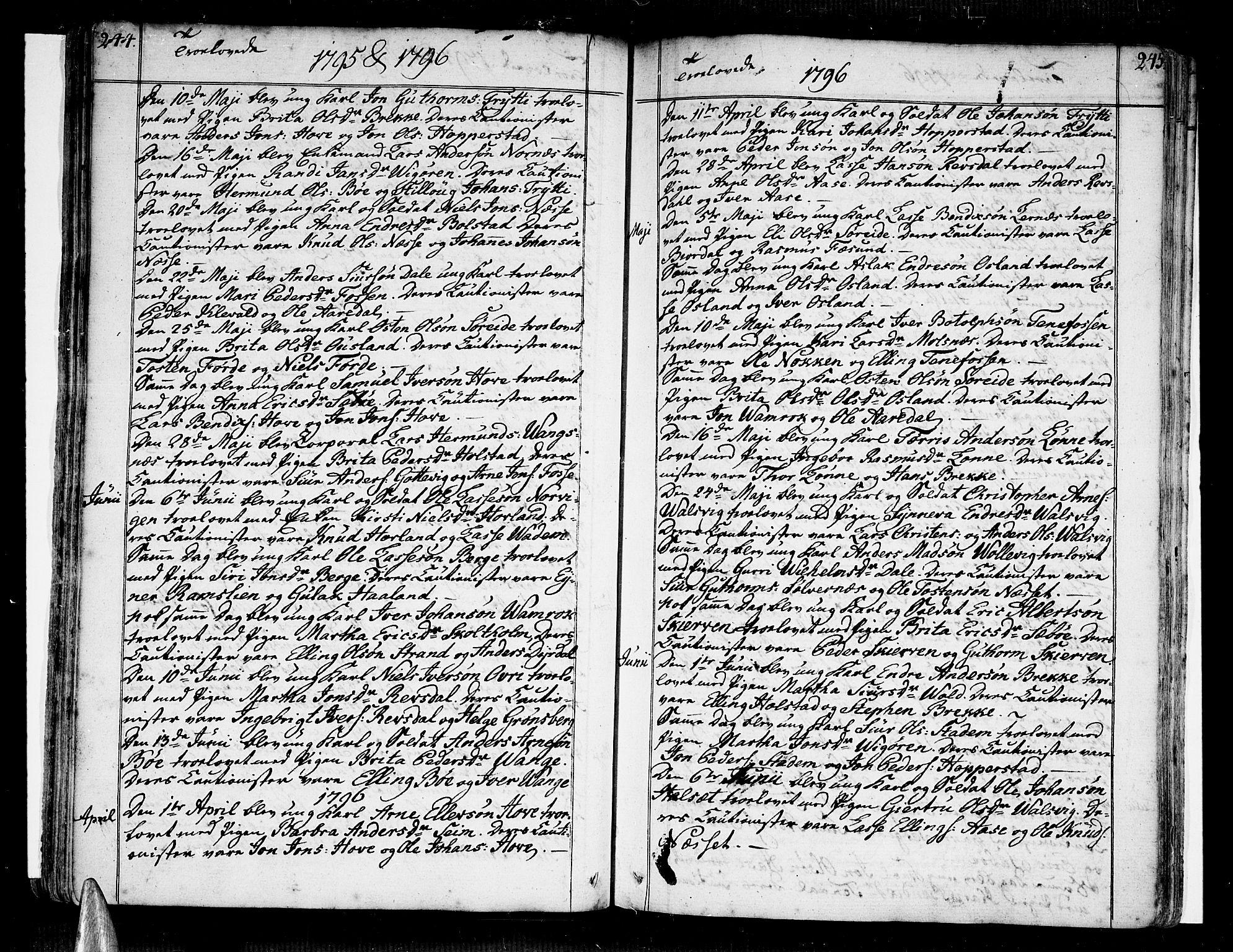 SAB, Vik Sokneprestembete, Ministerialbok nr. A 5, 1787-1820, s. 244-245
