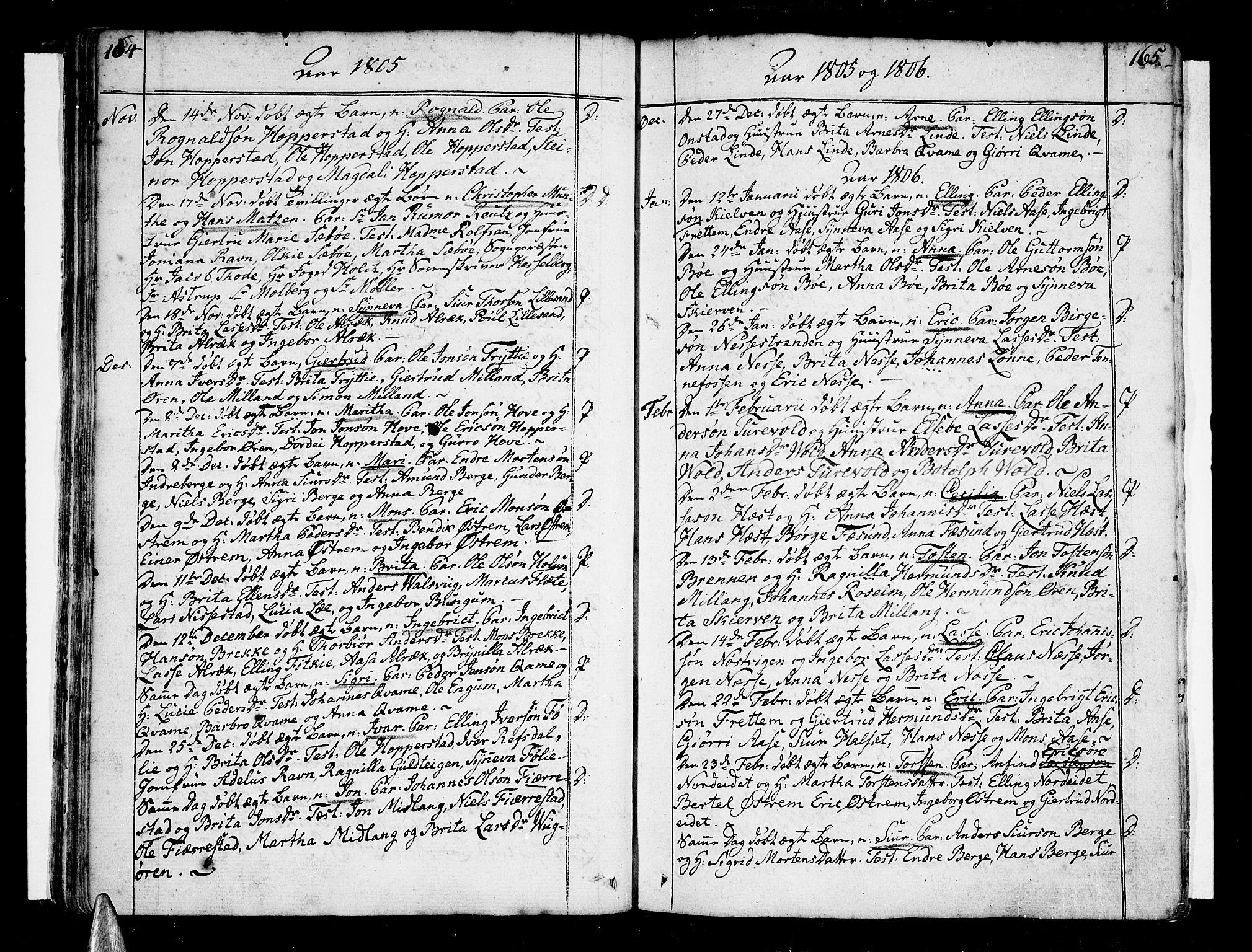 SAB, Vik Sokneprestembete, Ministerialbok nr. A 5, 1787-1820, s. 164-165
