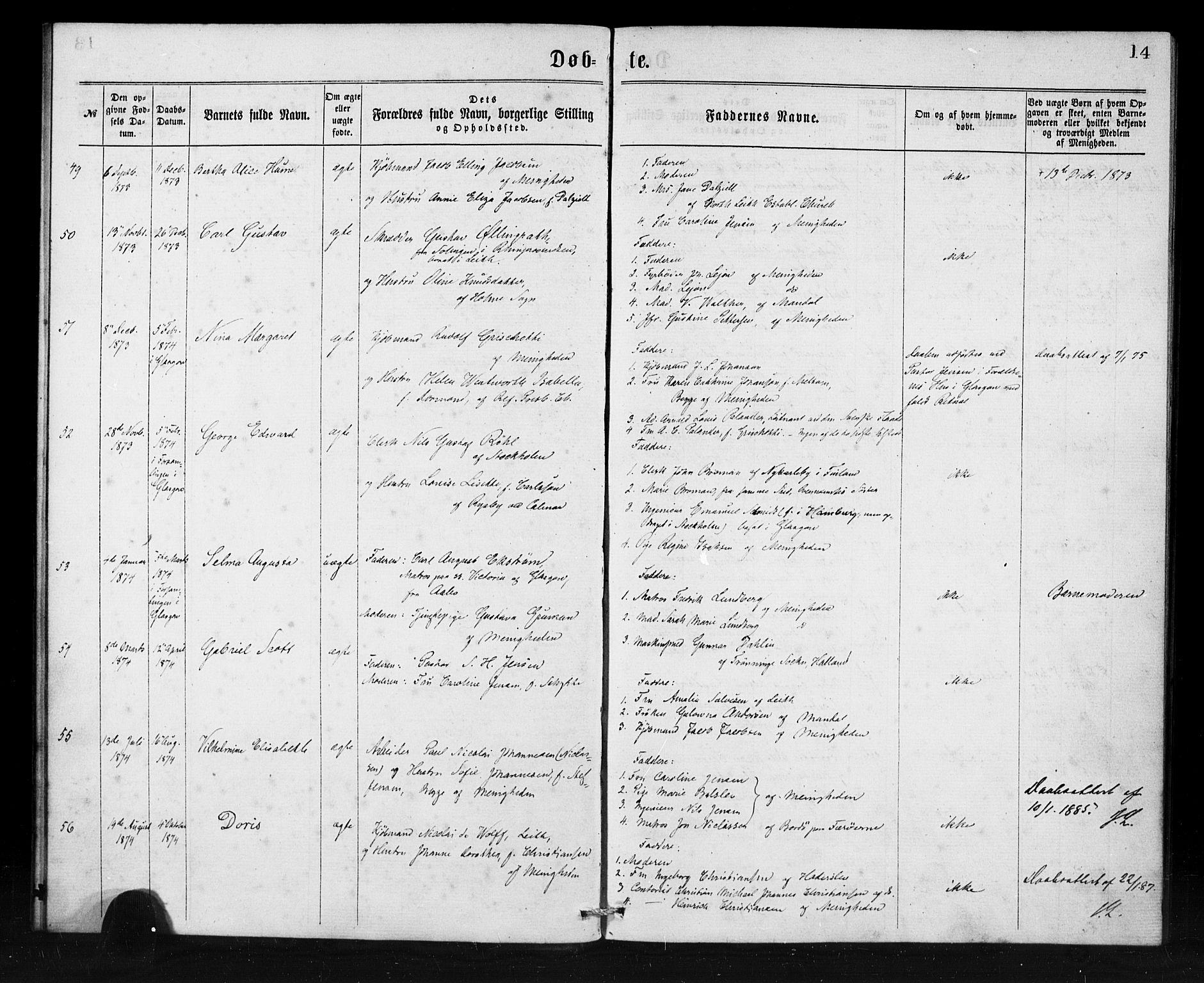SAB, Den Norske Sjømannsmisjon i utlandet*, Ministerialbok nr. A 1, 1865-1880, s. 14