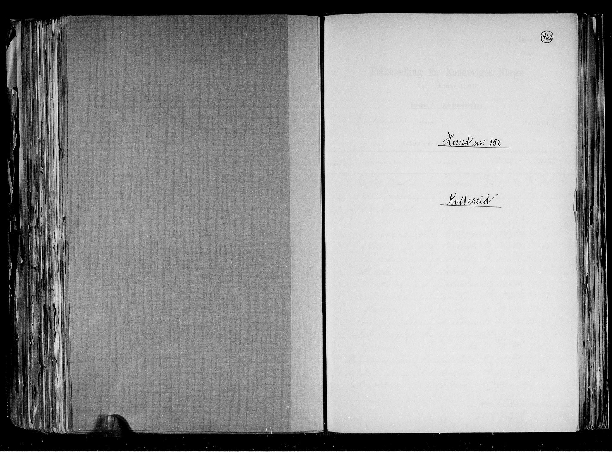 RA, Folketelling 1891 for 0829 Kviteseid herred, 1891, s. 1