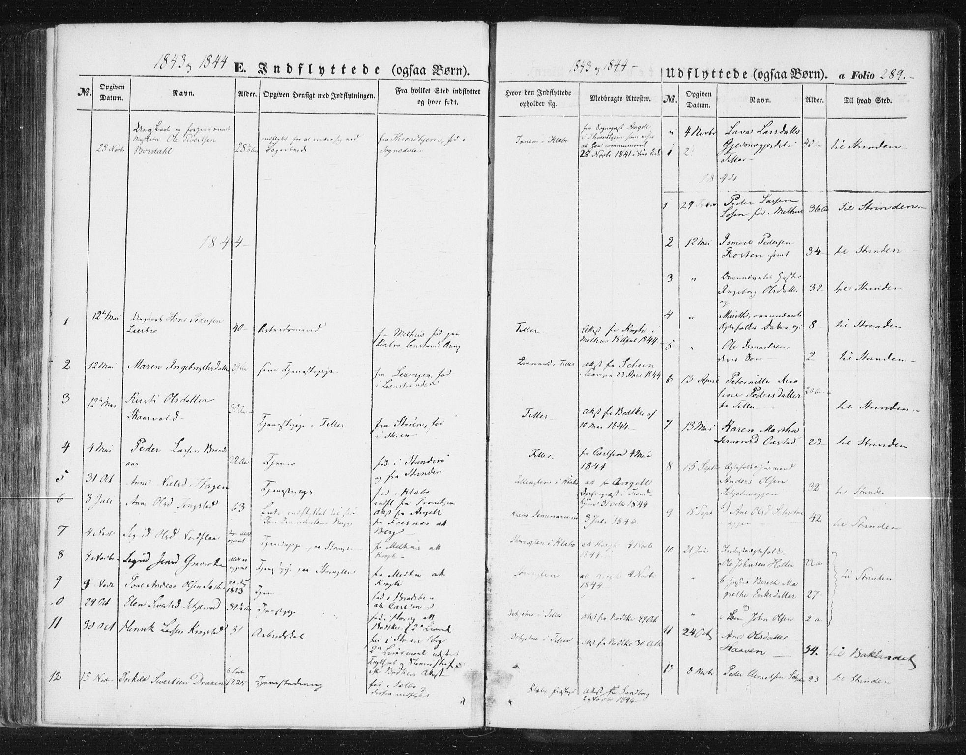SAT, Ministerialprotokoller, klokkerbøker og fødselsregistre - Sør-Trøndelag, 618/L0441: Ministerialbok nr. 618A05, 1843-1862, s. 289