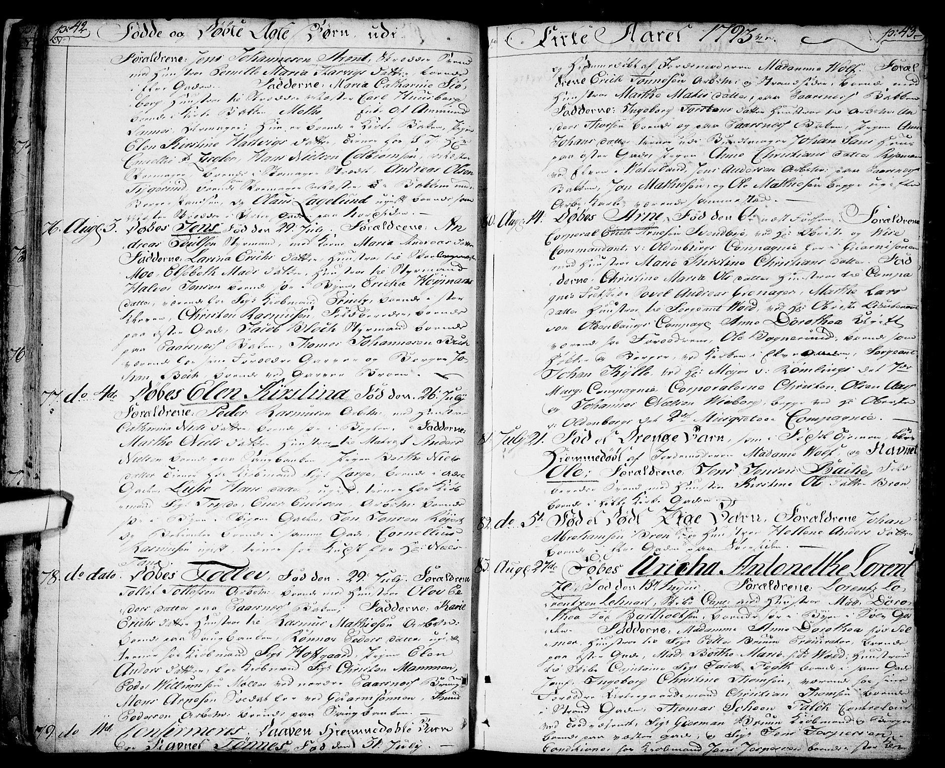 SAO, Halden prestekontor Kirkebøker, F/Fa/L0002: Ministerialbok nr. I 2, 1792-1812, s. 42-43