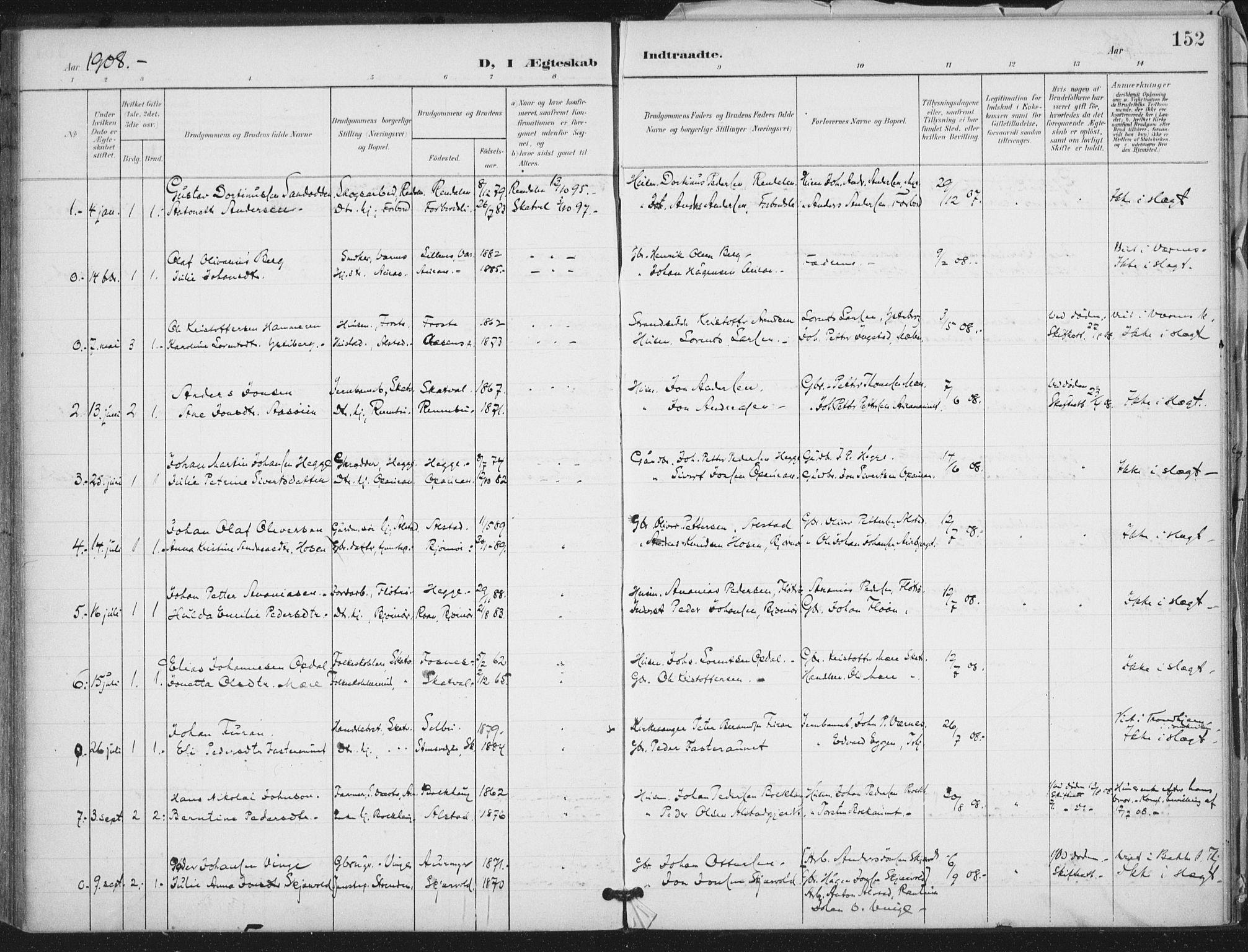 SAT, Ministerialprotokoller, klokkerbøker og fødselsregistre - Nord-Trøndelag, 712/L0101: Ministerialbok nr. 712A02, 1901-1916, s. 152
