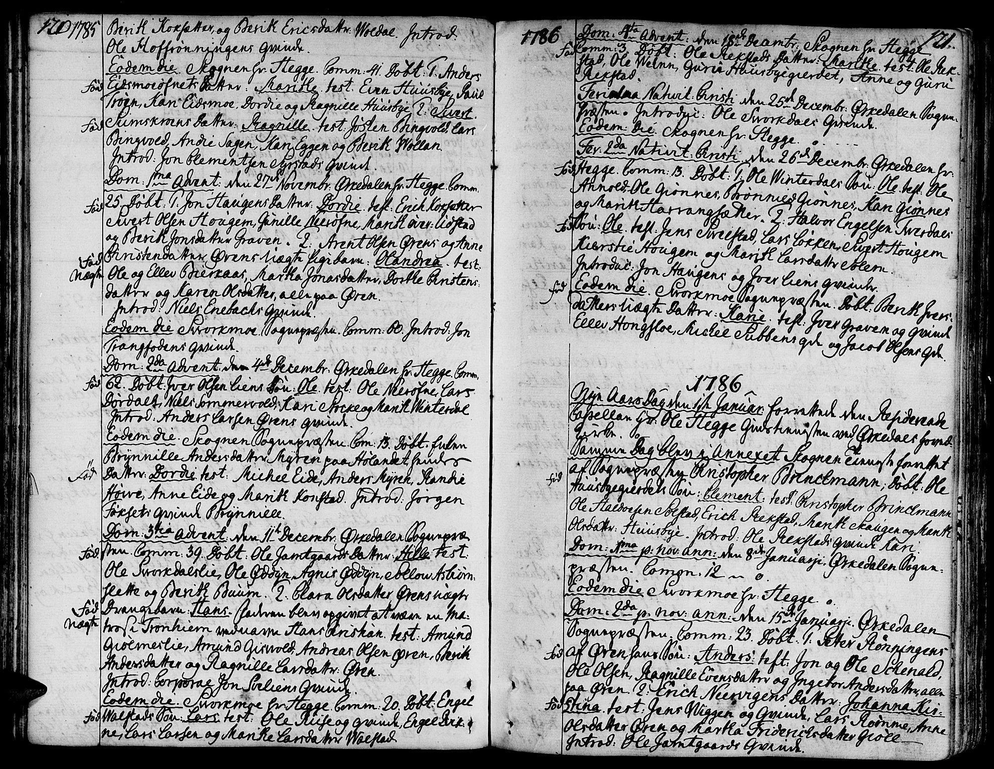 SAT, Ministerialprotokoller, klokkerbøker og fødselsregistre - Sør-Trøndelag, 668/L0802: Ministerialbok nr. 668A02, 1776-1799, s. 120-121