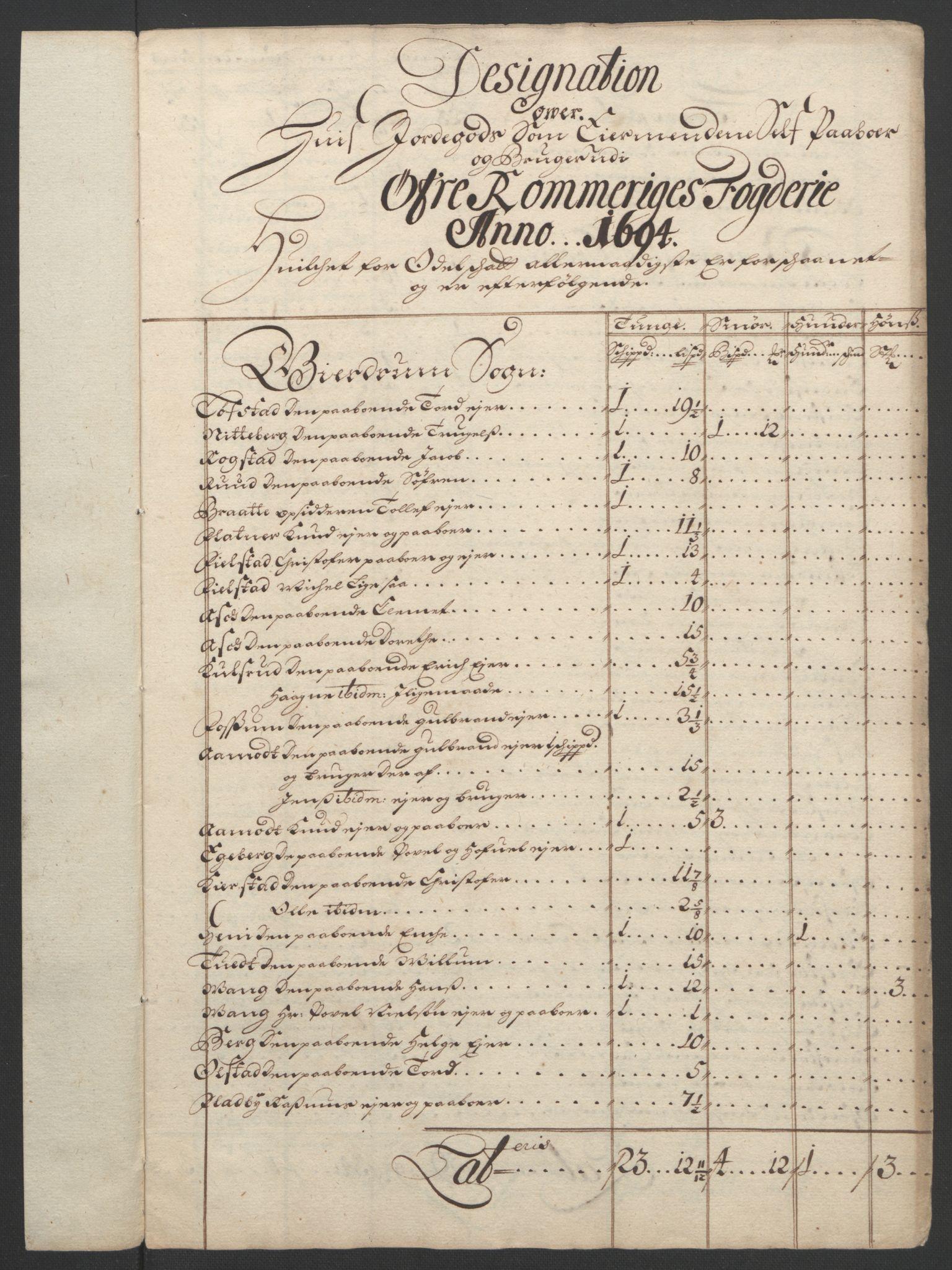 RA, Rentekammeret inntil 1814, Reviderte regnskaper, Fogderegnskap, R12/L0706: Fogderegnskap Øvre Romerike, 1694, s. 292