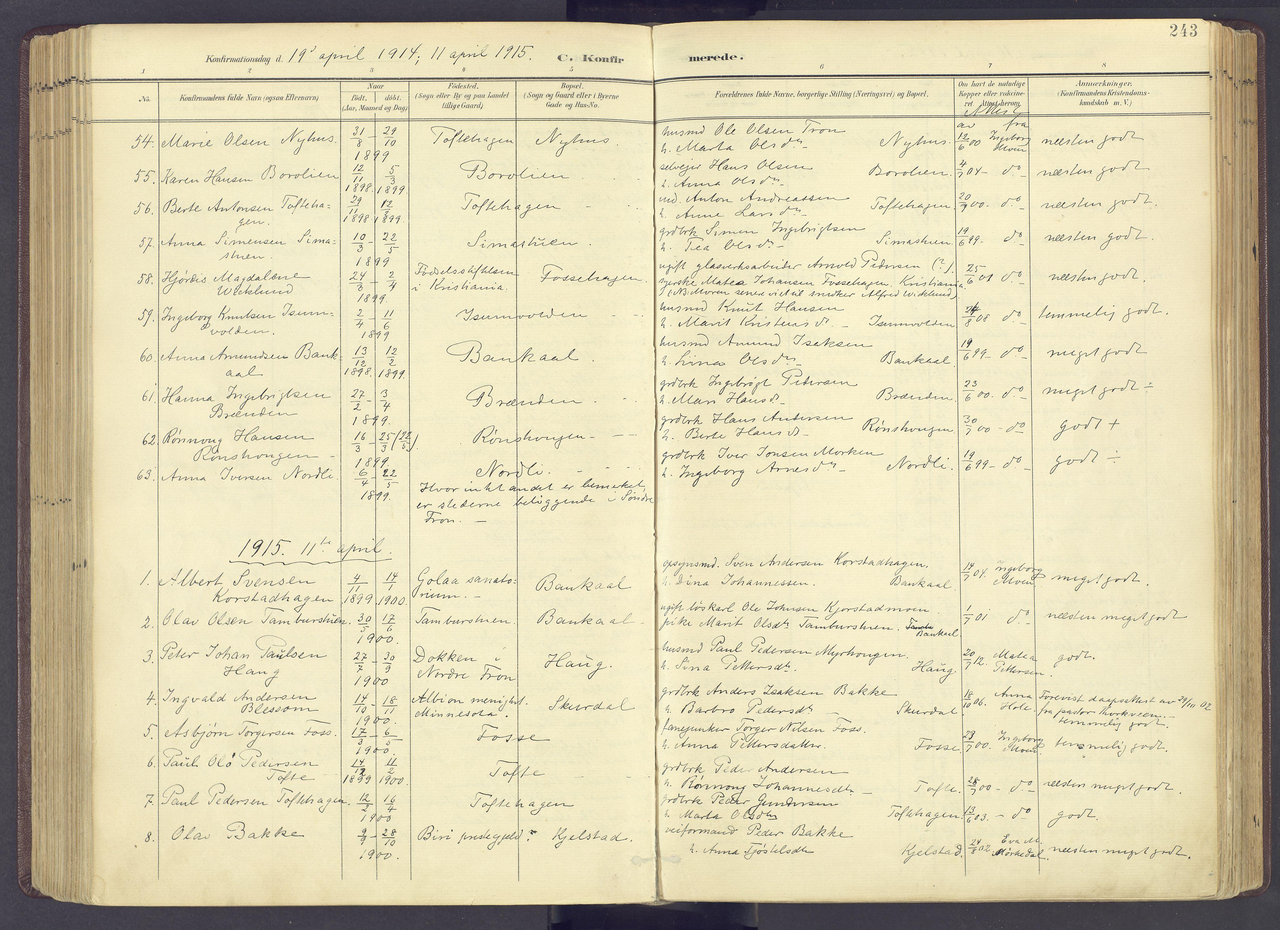 SAH, Sør-Fron prestekontor, H/Ha/Haa/L0004: Ministerialbok nr. 4, 1898-1919, s. 243