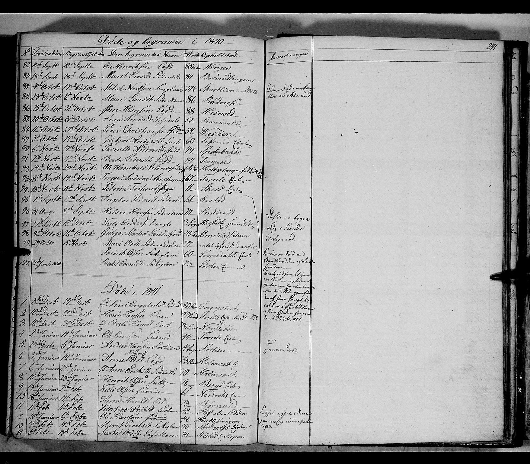 SAH, Land prestekontor, Klokkerbok nr. 2, 1833-1849, s. 241