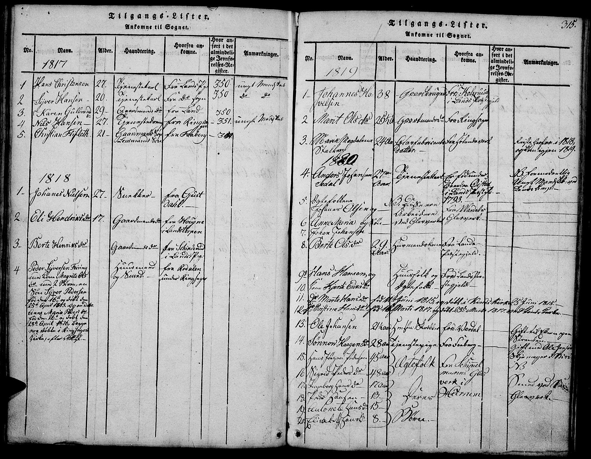 SAH, Biri prestekontor, Klokkerbok nr. 1, 1814-1828, s. 315