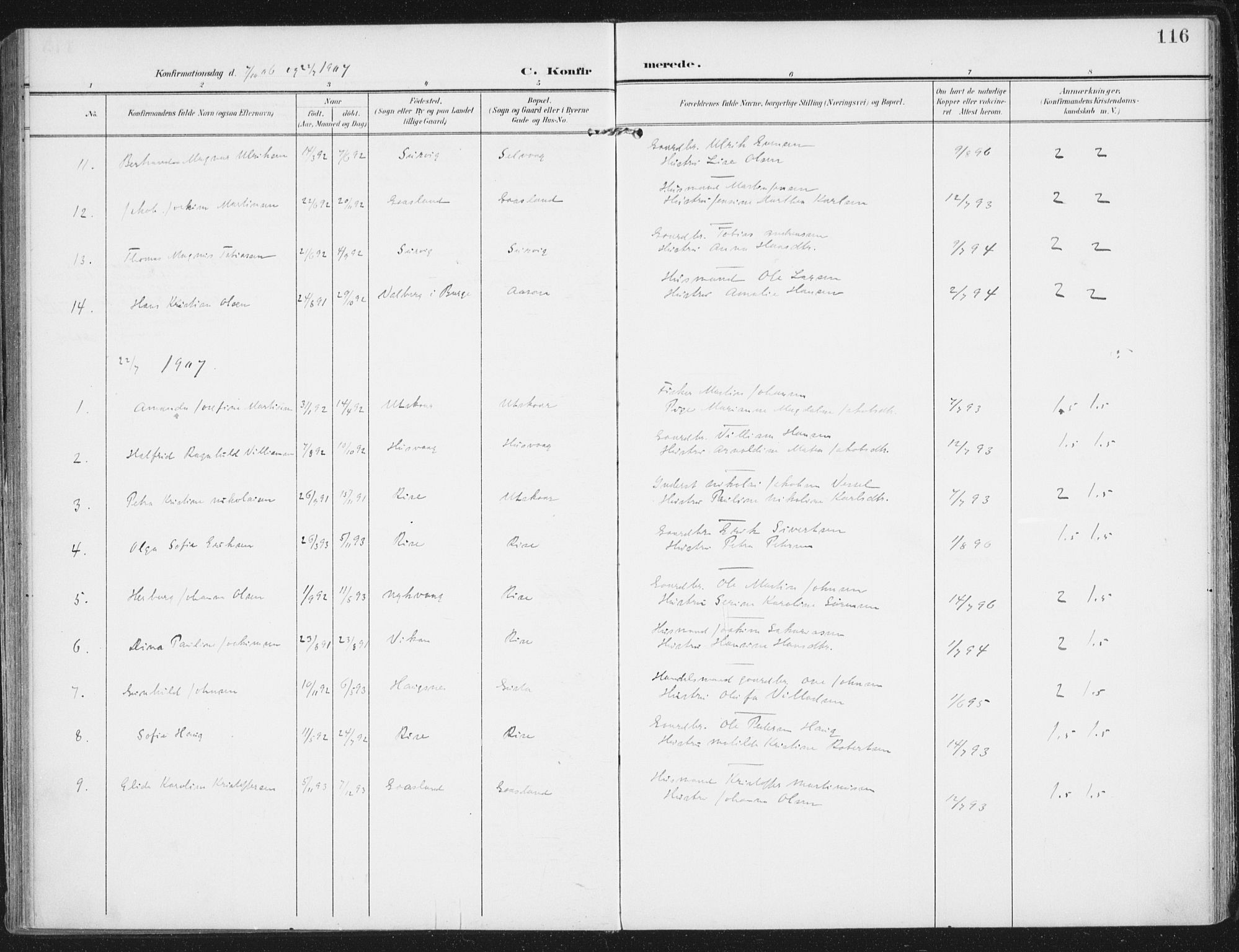 SAT, Ministerialprotokoller, klokkerbøker og fødselsregistre - Nordland, 892/L1321: Ministerialbok nr. 892A02, 1902-1918, s. 116