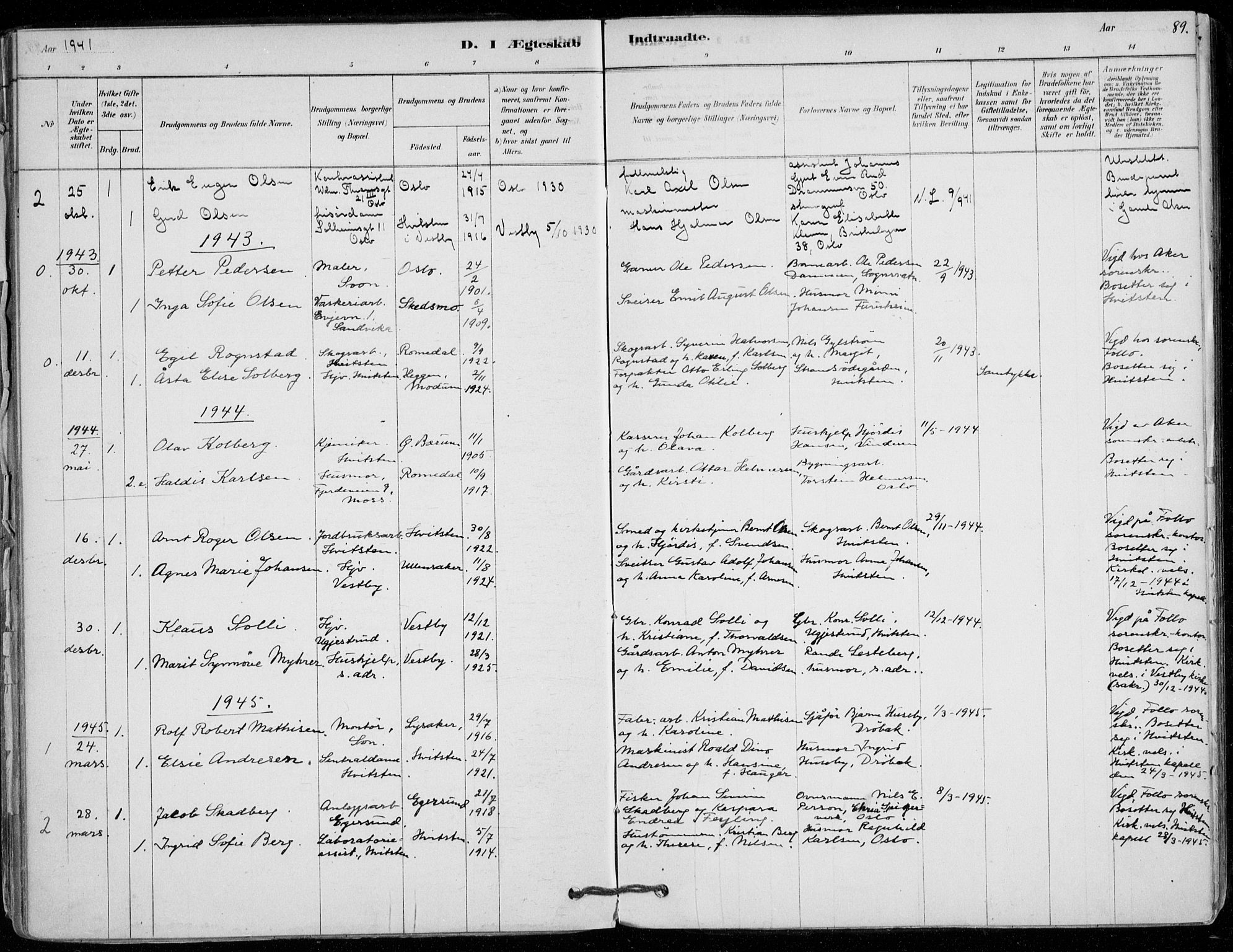 SAO, Vestby prestekontor Kirkebøker, F/Fd/L0001: Ministerialbok nr. IV 1, 1878-1945, s. 89