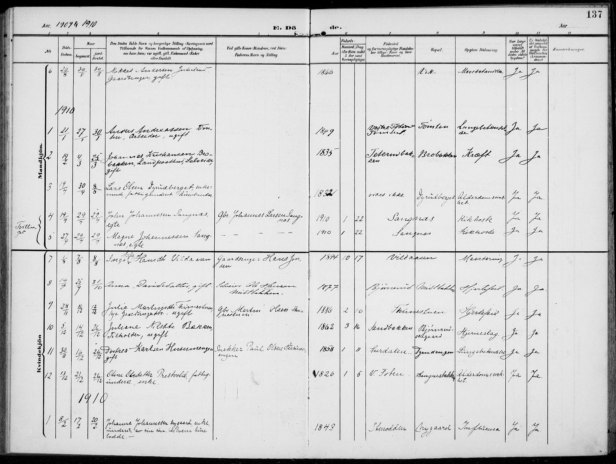 SAH, Kolbu prestekontor, Ministerialbok nr. 1, 1907-1923, s. 137