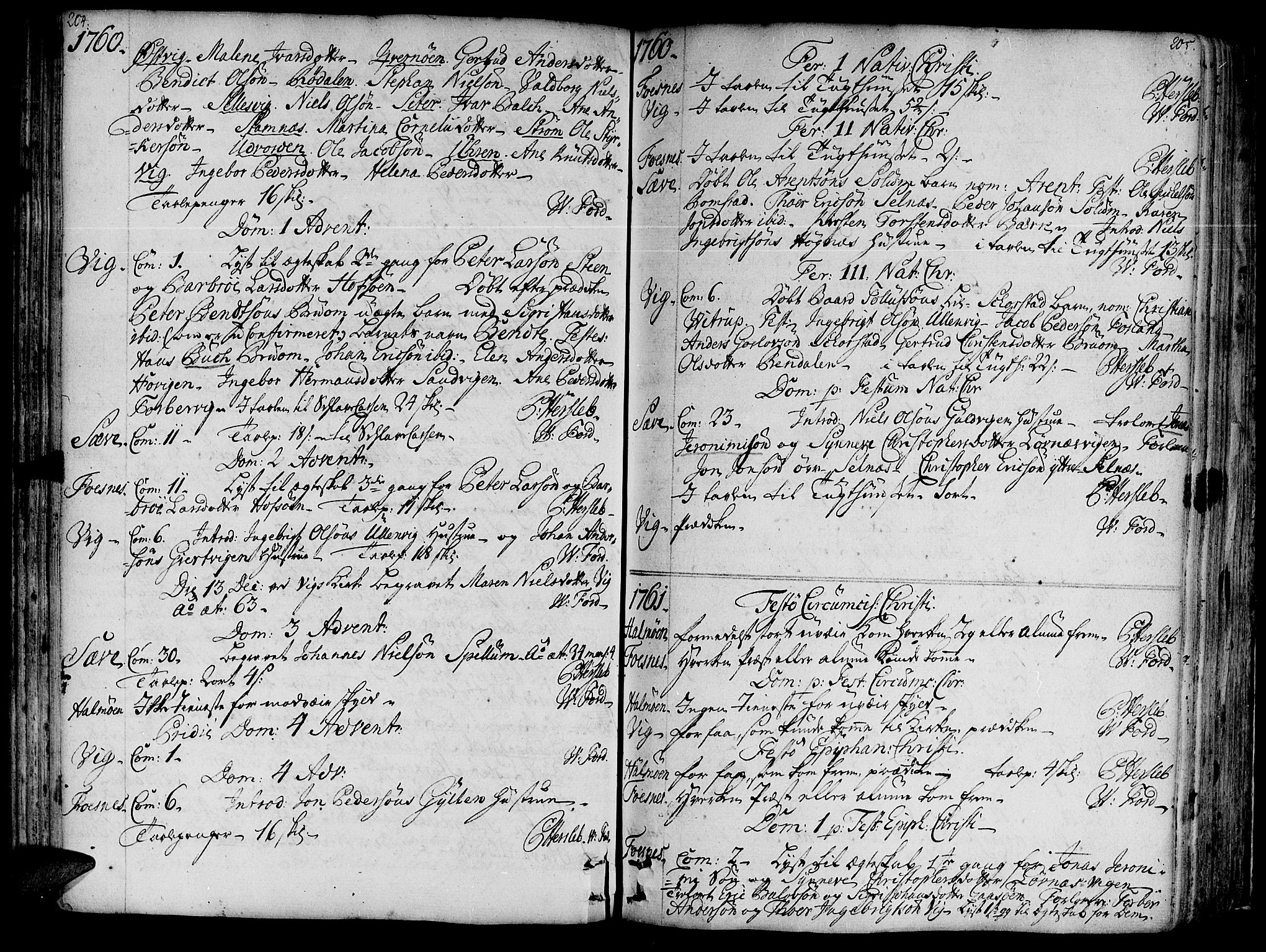 SAT, Ministerialprotokoller, klokkerbøker og fødselsregistre - Nord-Trøndelag, 773/L0607: Ministerialbok nr. 773A01, 1751-1783, s. 204-205