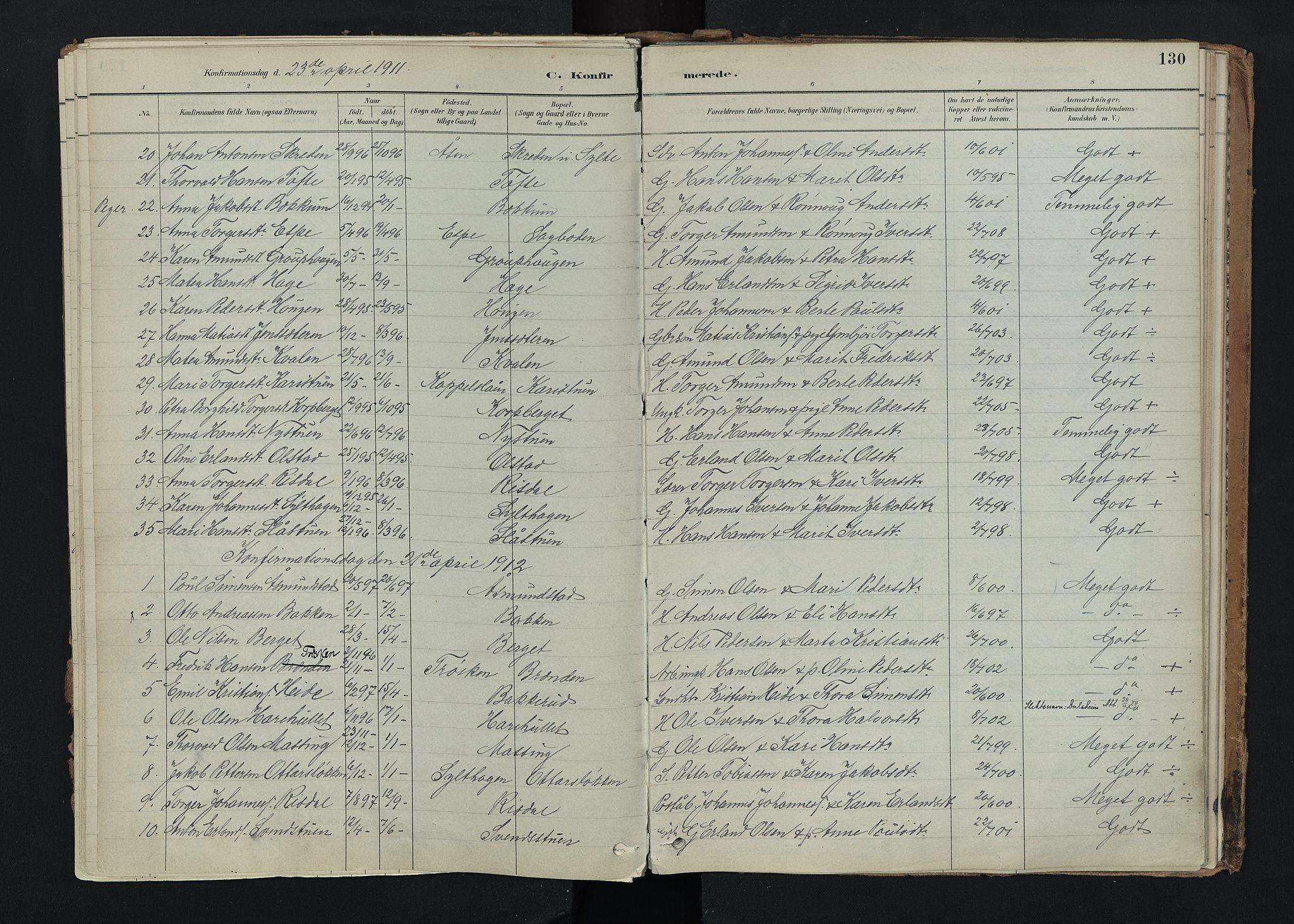 SAH, Nord-Fron prestekontor, Ministerialbok nr. 5, 1884-1914, s. 130