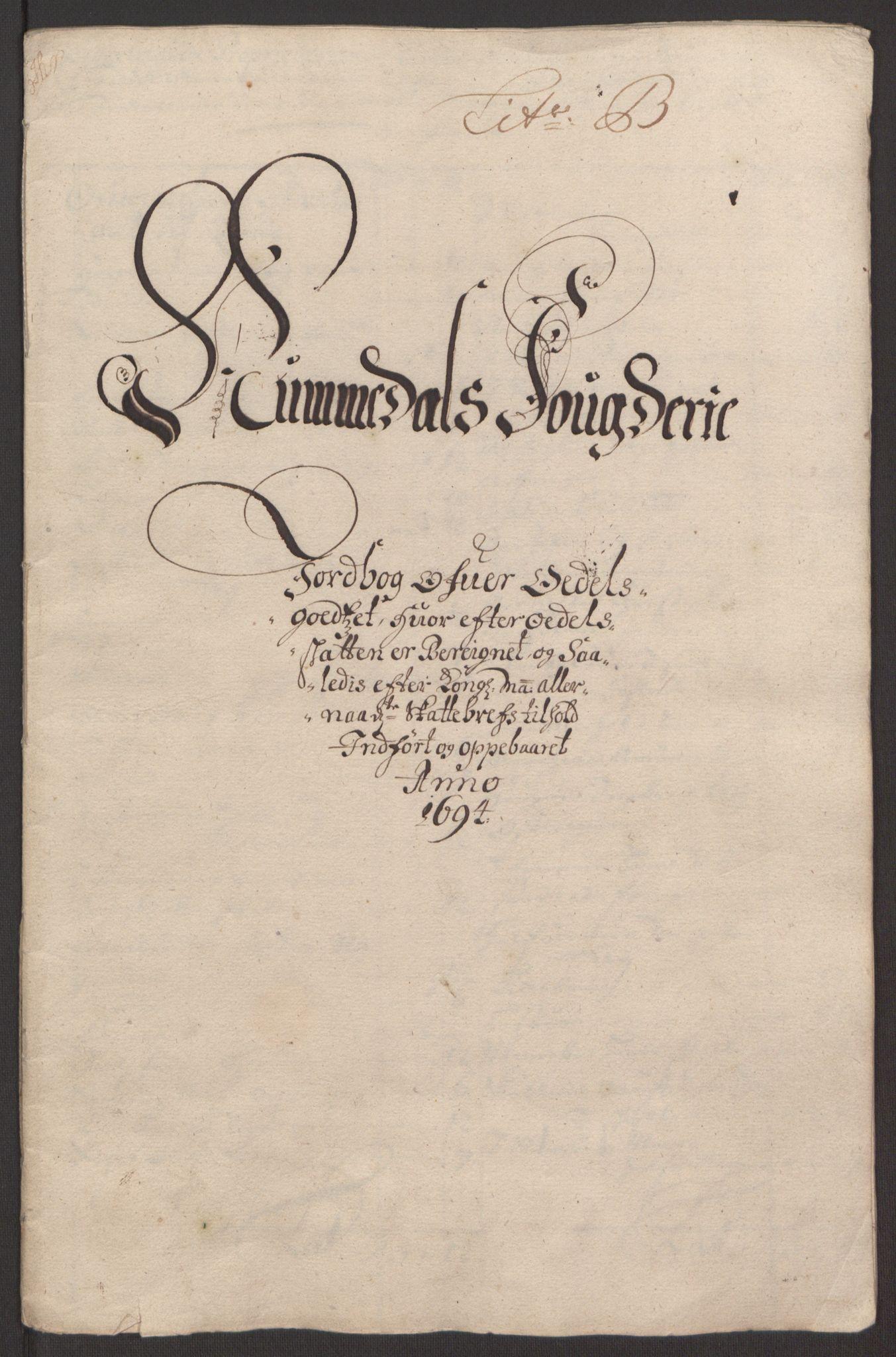 RA, Rentekammeret inntil 1814, Reviderte regnskaper, Fogderegnskap, R64/L4424: Fogderegnskap Namdal, 1692-1695, s. 343