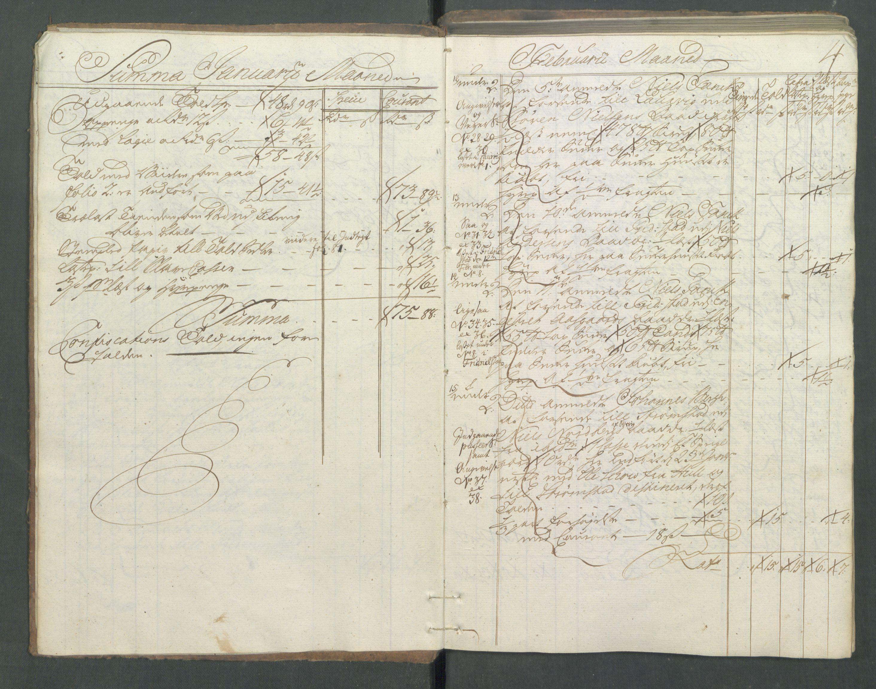RA, Generaltollkammeret, tollregnskaper, R01/L0029: Tollregnskaper Fredrikshald, 1756, s. 3b-4a