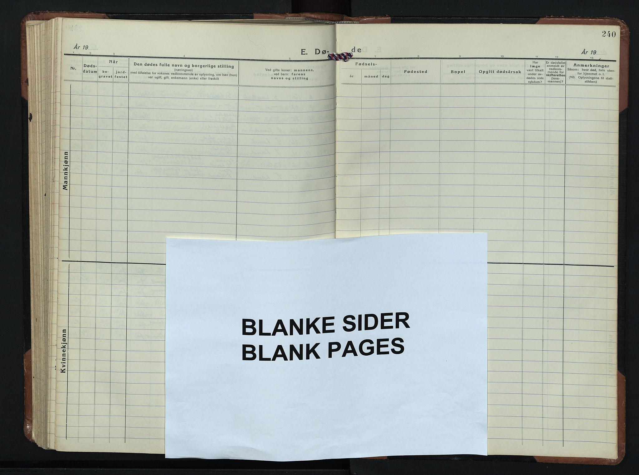 SAH, Søndre Land prestekontor, L/L0009: Klokkerbok nr. 9, 1933-1954, s. 240