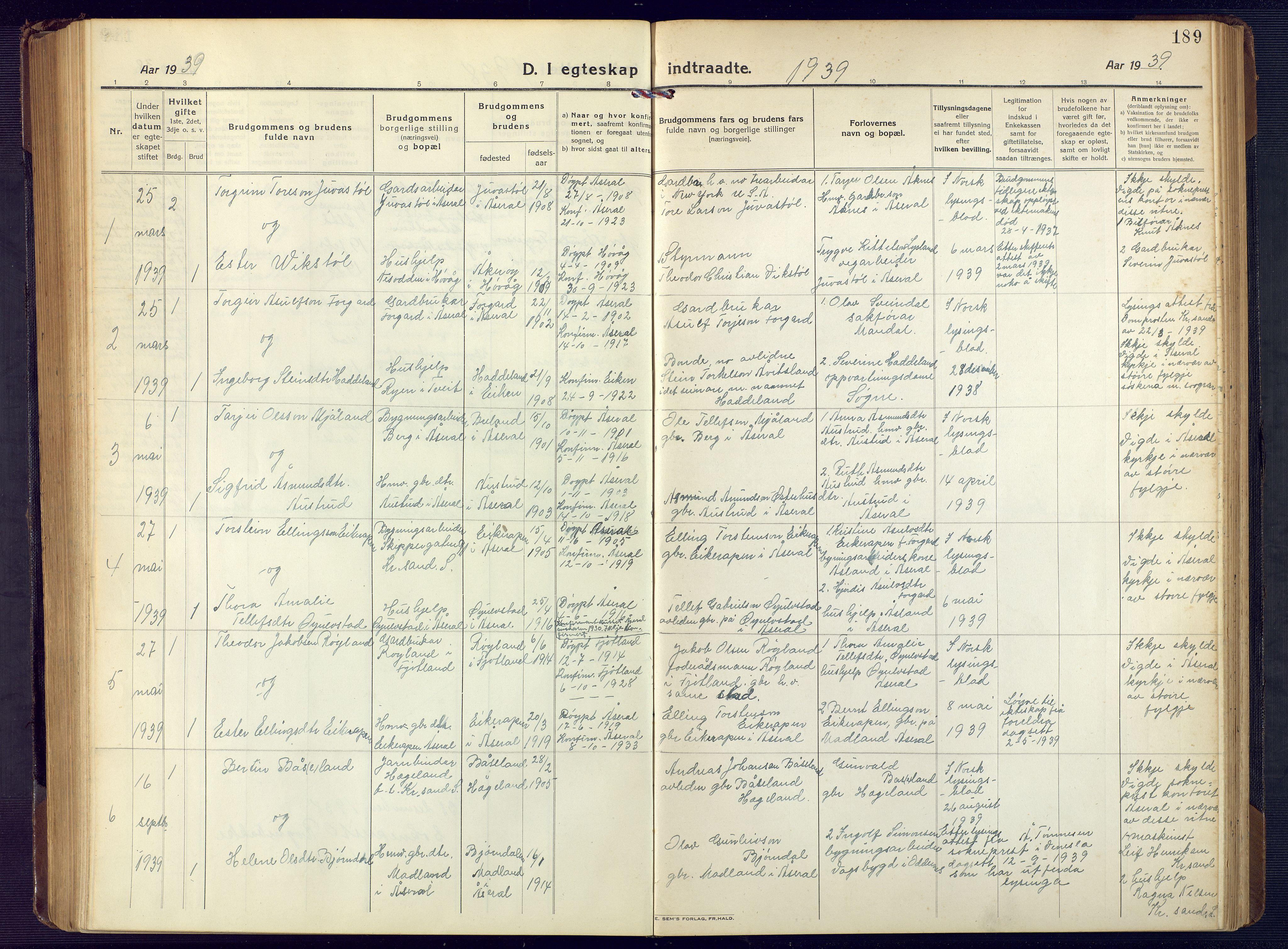 SAK, Åseral sokneprestkontor, F/Fb/L0004: Klokkerbok nr. B 4, 1920-1946, s. 189