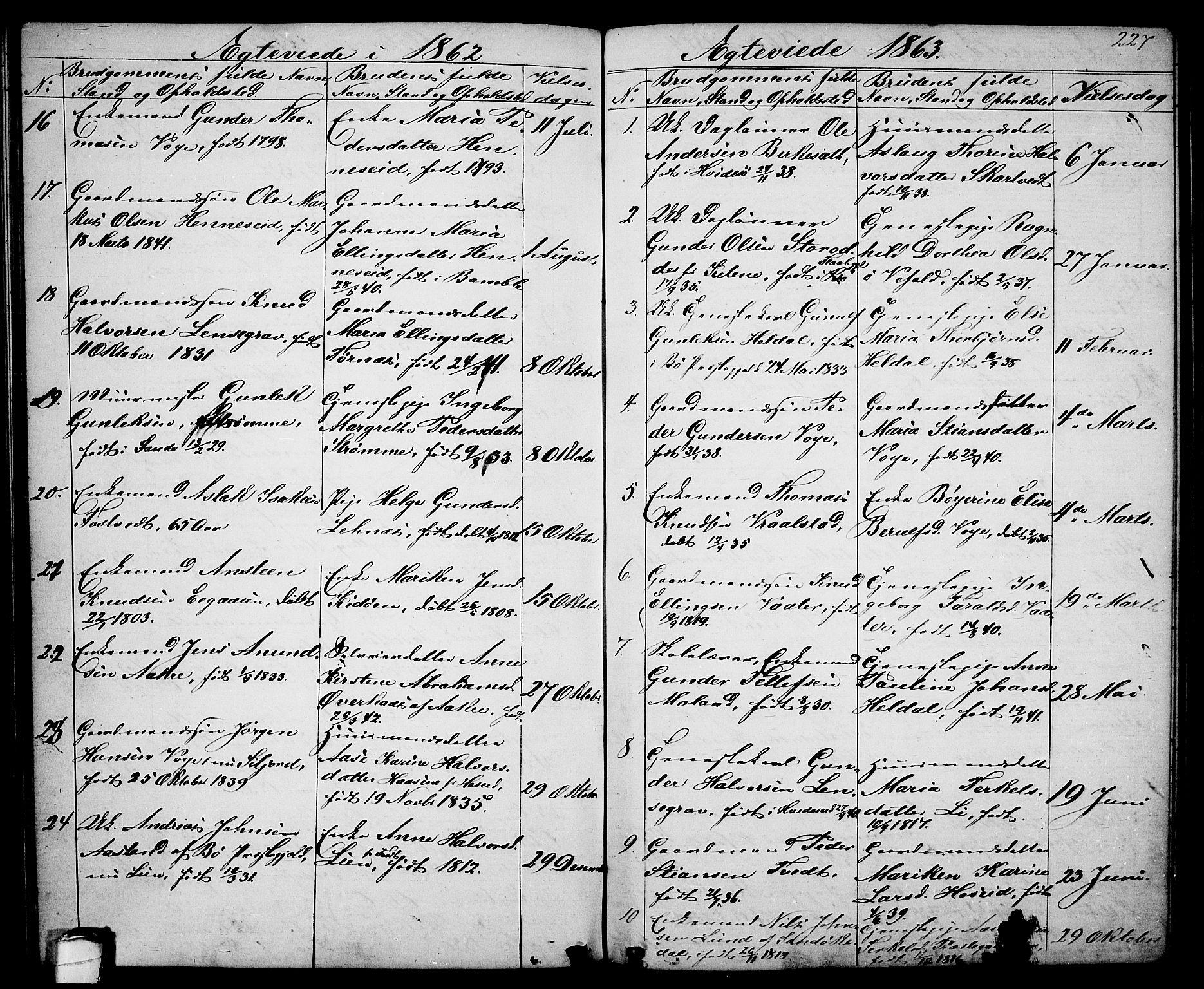 SAKO, Drangedal kirkebøker, G/Ga/L0002: Klokkerbok nr. I 2, 1856-1887, s. 227