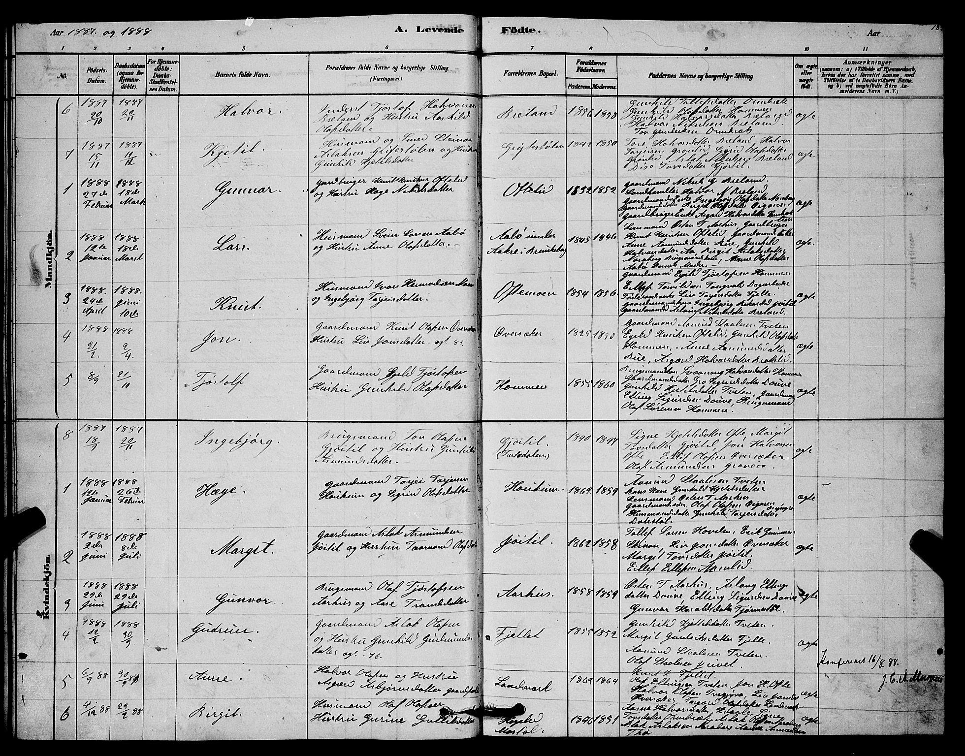 SAKO, Lårdal kirkebøker, G/Gc/L0003: Klokkerbok nr. III 3, 1878-1890, s. 18