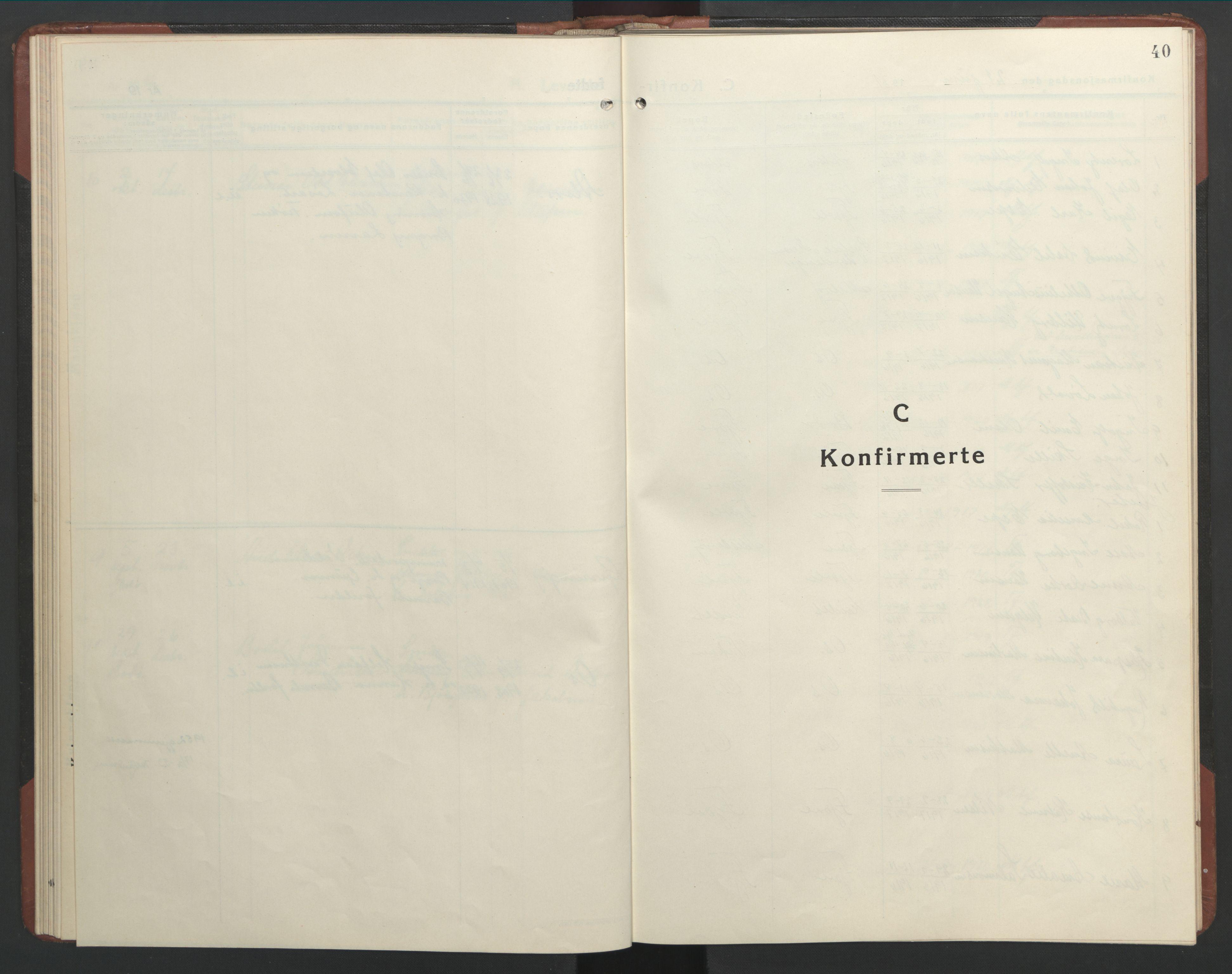 SAT, Ministerialprotokoller, klokkerbøker og fødselsregistre - Nordland, 803/L0078: Klokkerbok nr. 803C05, 1931-1952, s. 40