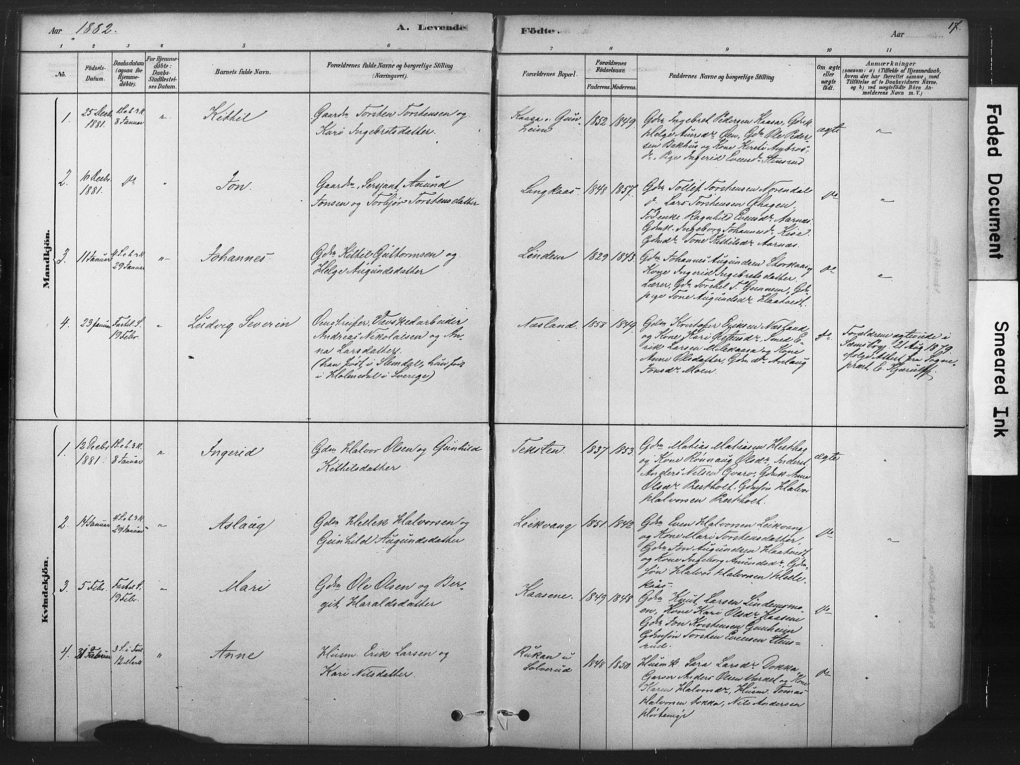 SAKO, Sauherad kirkebøker, F/Fb/L0002: Ministerialbok nr. II 2, 1878-1901, s. 17