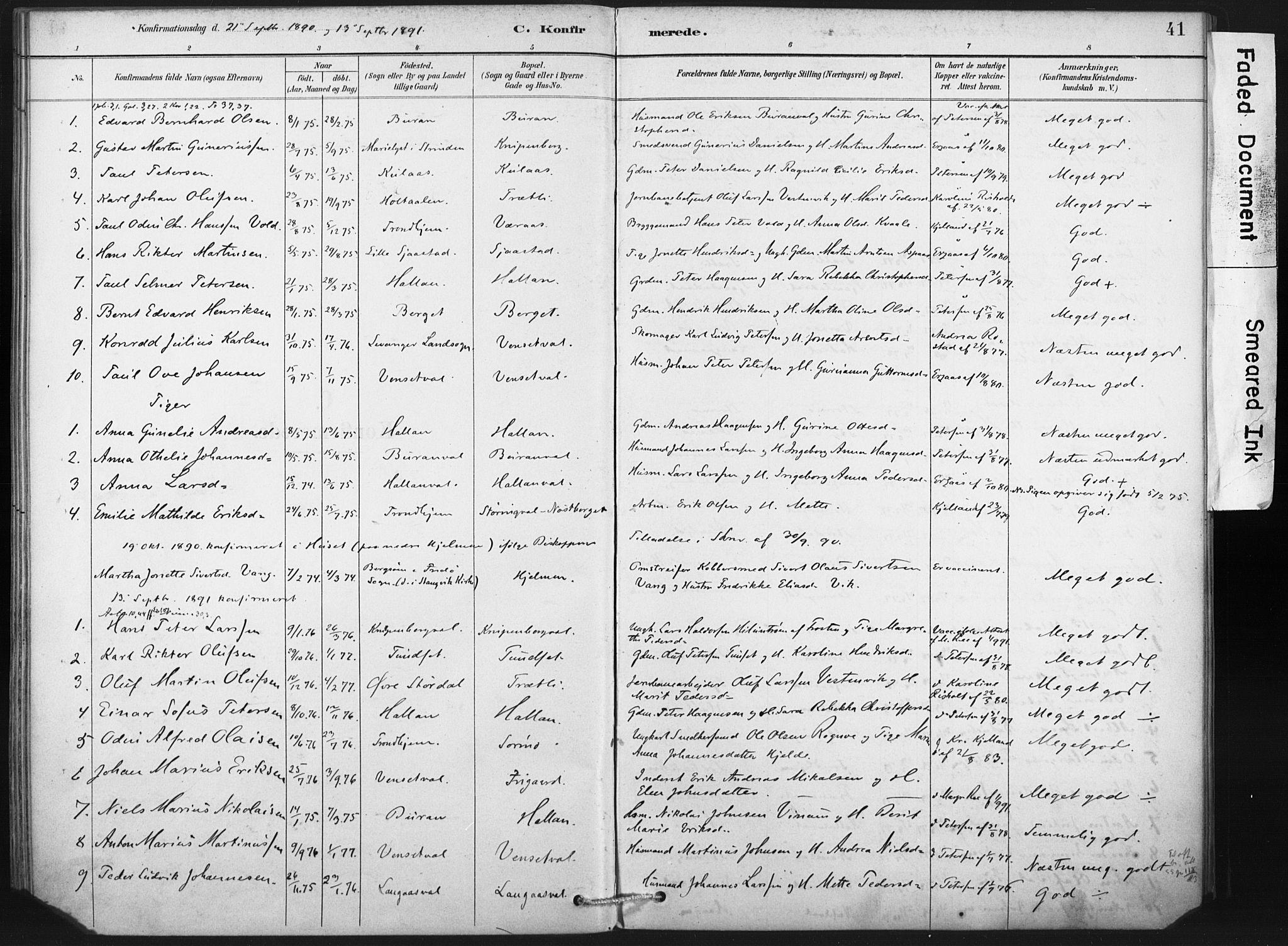 SAT, Ministerialprotokoller, klokkerbøker og fødselsregistre - Nord-Trøndelag, 718/L0175: Ministerialbok nr. 718A01, 1890-1923, s. 41
