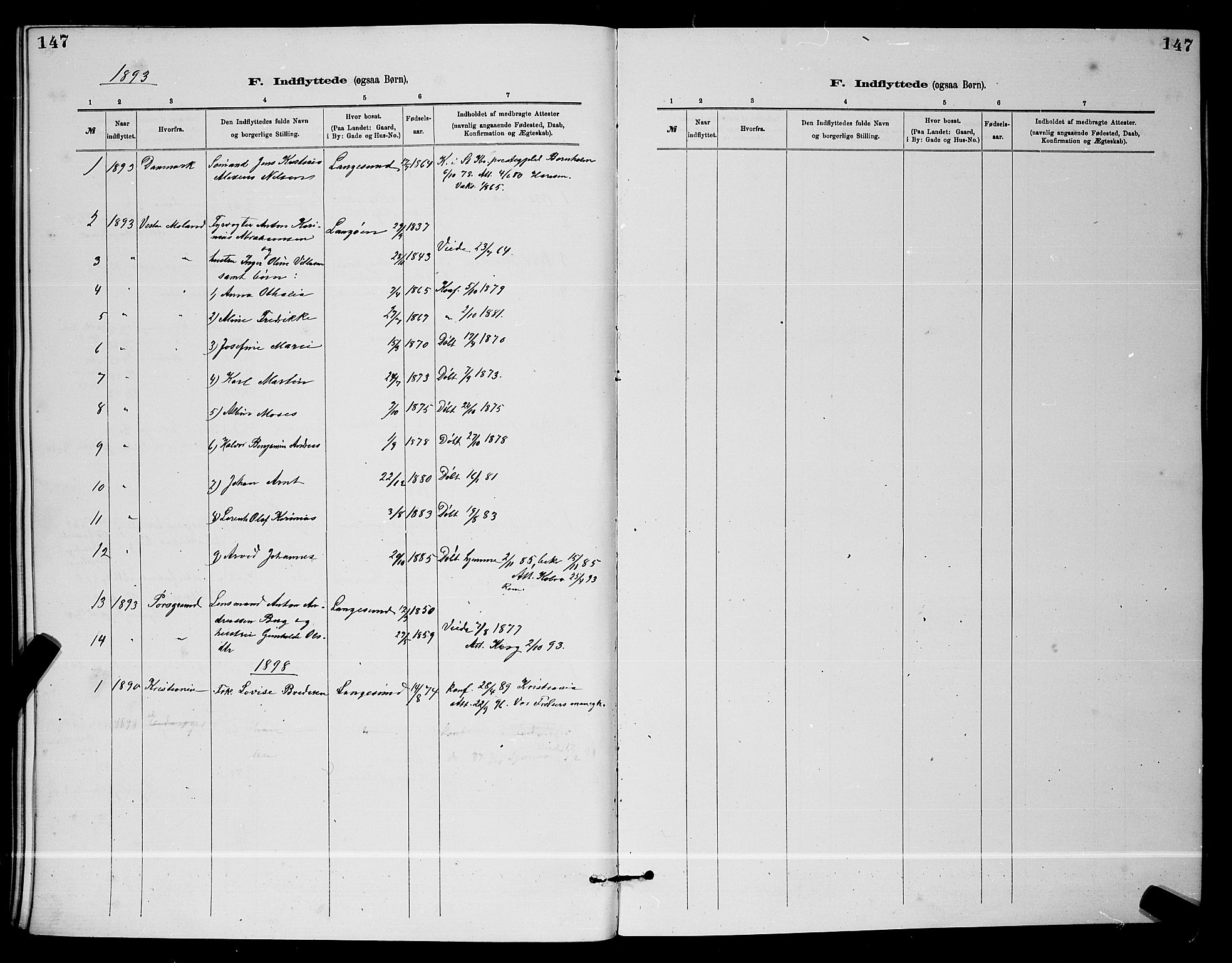 SAKO, Langesund kirkebøker, G/Ga/L0005: Klokkerbok nr. 5, 1884-1898, s. 147