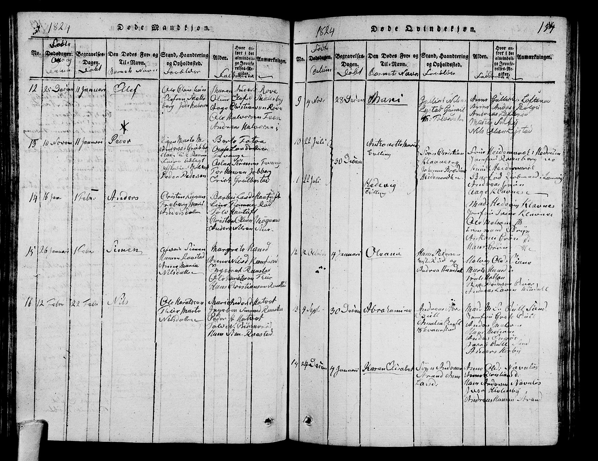 SAKO, Sandar kirkebøker, G/Ga/L0001: Klokkerbok nr. 1, 1814-1835, s. 154