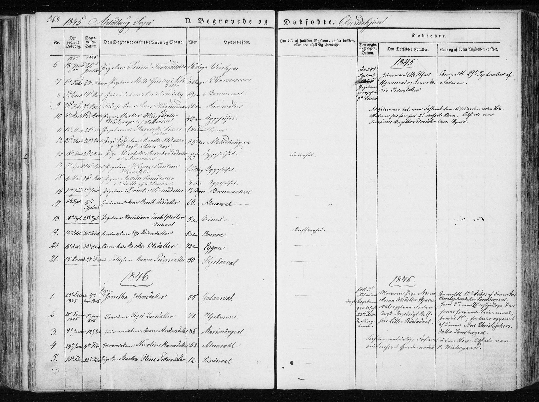 SAT, Ministerialprotokoller, klokkerbøker og fødselsregistre - Nord-Trøndelag, 717/L0154: Ministerialbok nr. 717A06 /1, 1836-1849, s. 368