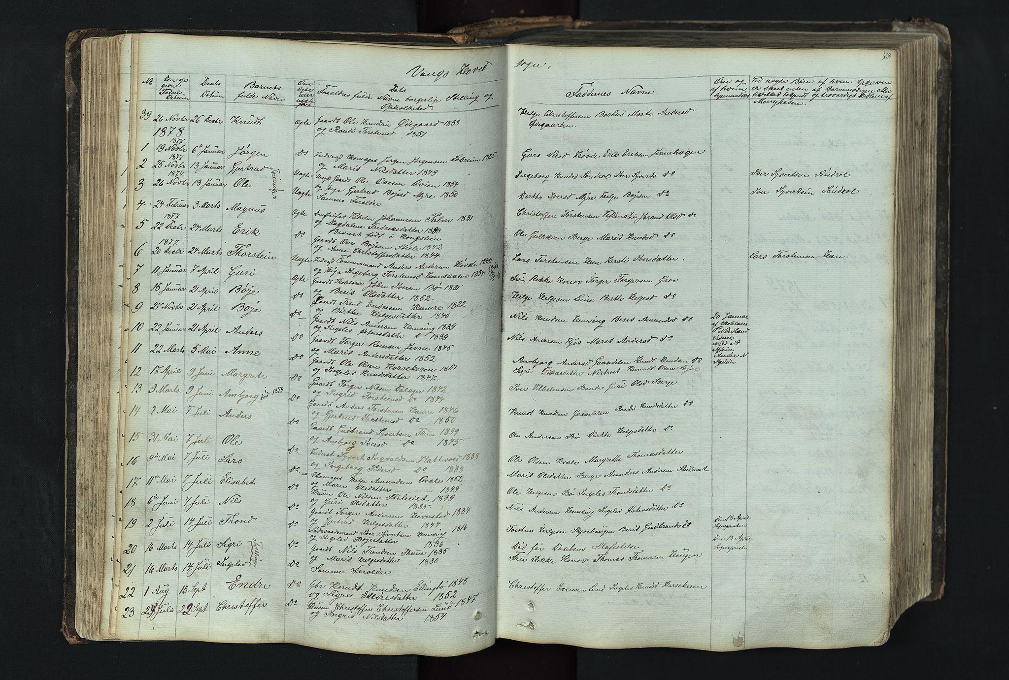 SAH, Vang prestekontor, Valdres, Klokkerbok nr. 4, 1835-1892, s. 73