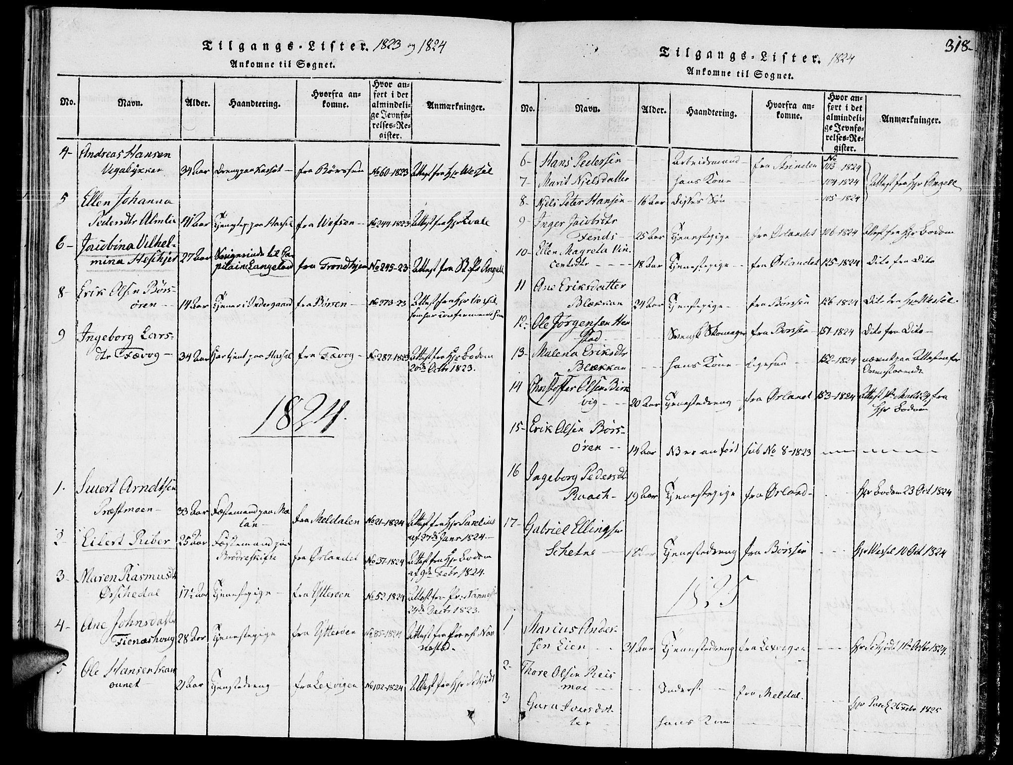 SAT, Ministerialprotokoller, klokkerbøker og fødselsregistre - Sør-Trøndelag, 646/L0608: Ministerialbok nr. 646A06, 1816-1825, s. 318