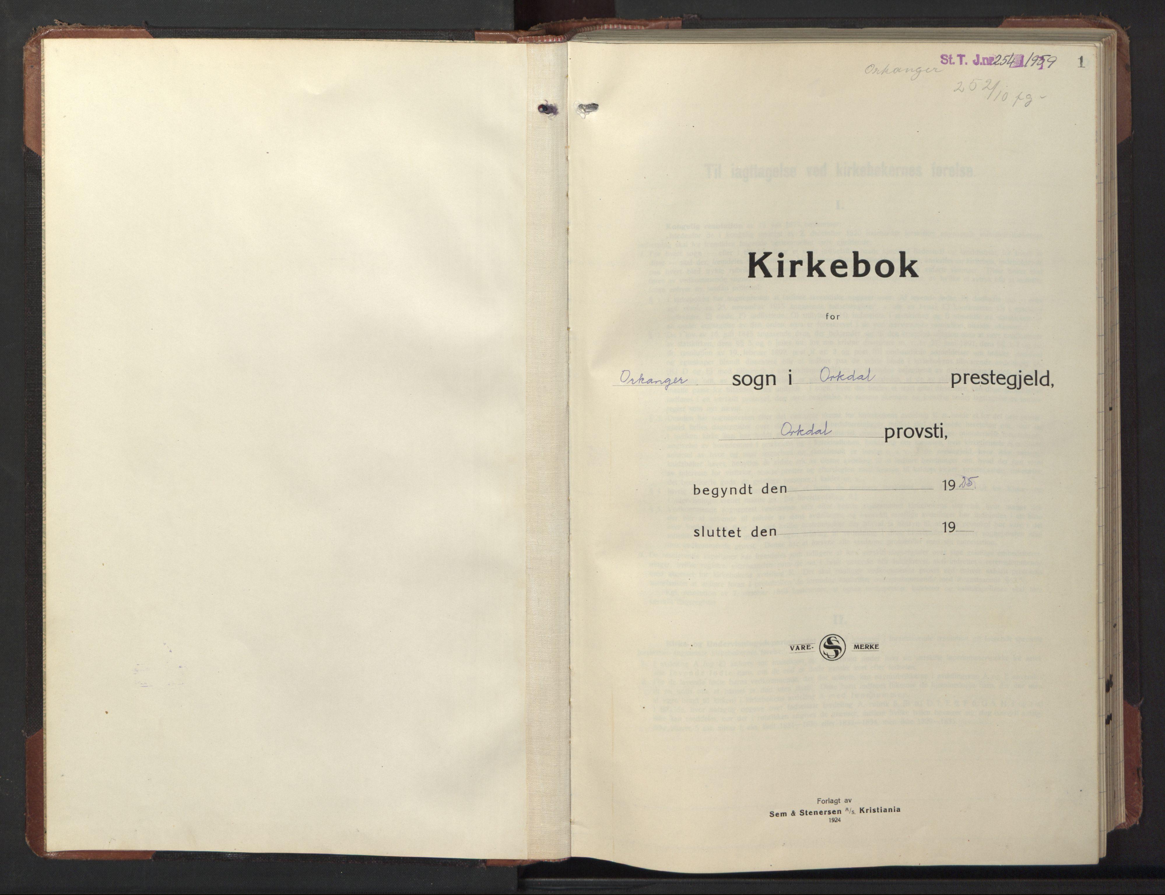 SAT, Ministerialprotokoller, klokkerbøker og fødselsregistre - Sør-Trøndelag, 669/L0832: Klokkerbok nr. 669C02, 1925-1953, s. 1