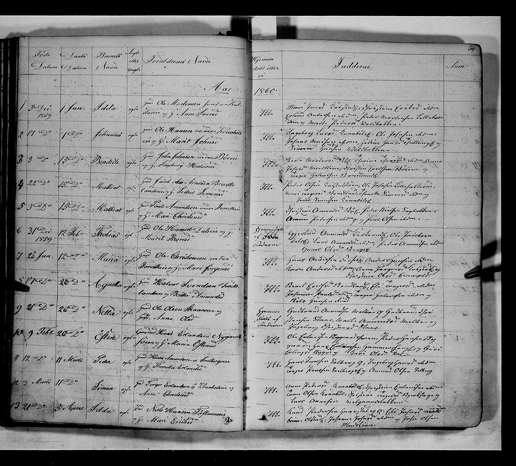 SAH, Gausdal prestekontor, Klokkerbok nr. 5, 1846-1867, s. 64