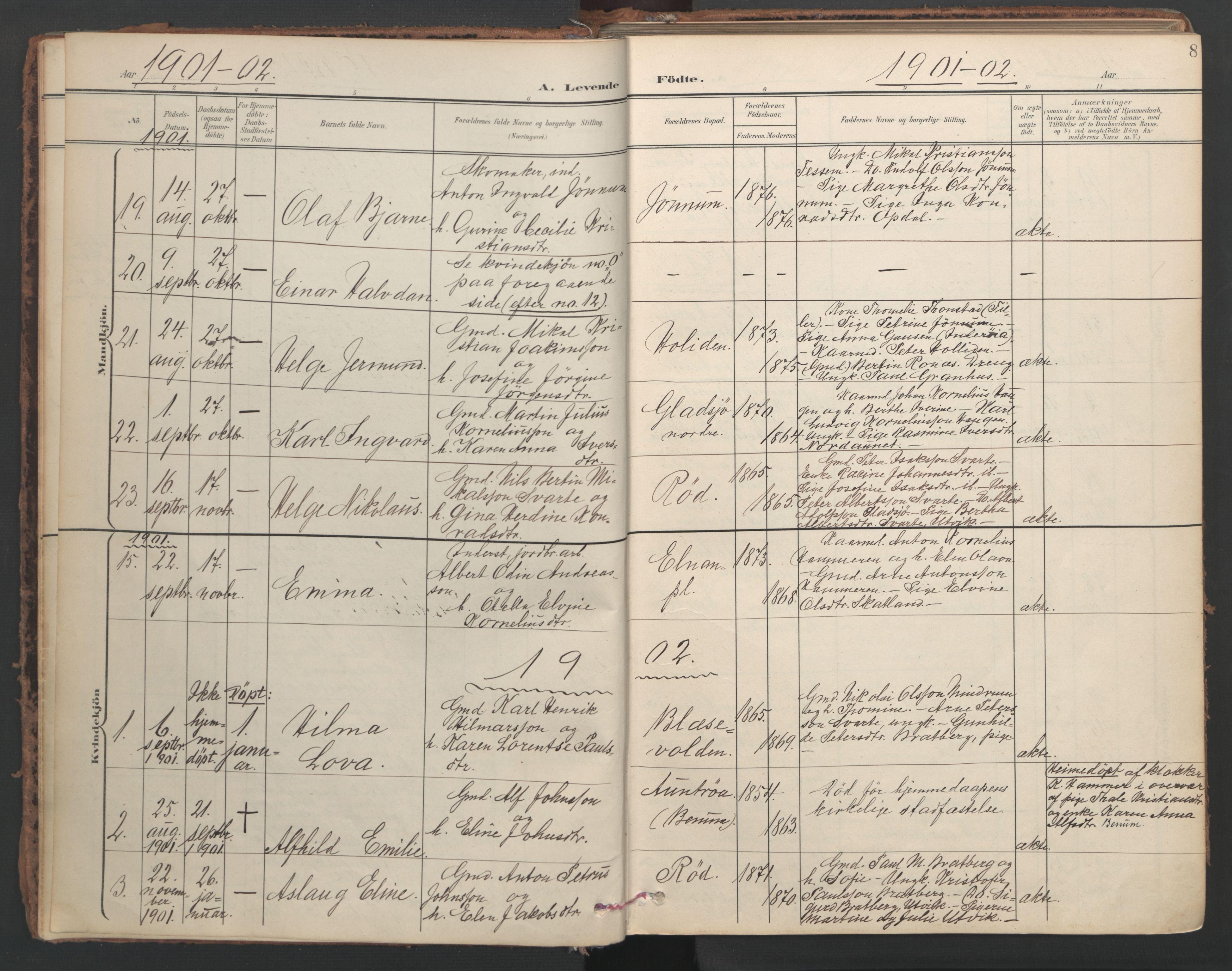 SAT, Ministerialprotokoller, klokkerbøker og fødselsregistre - Nord-Trøndelag, 741/L0397: Ministerialbok nr. 741A11, 1901-1911, s. 8