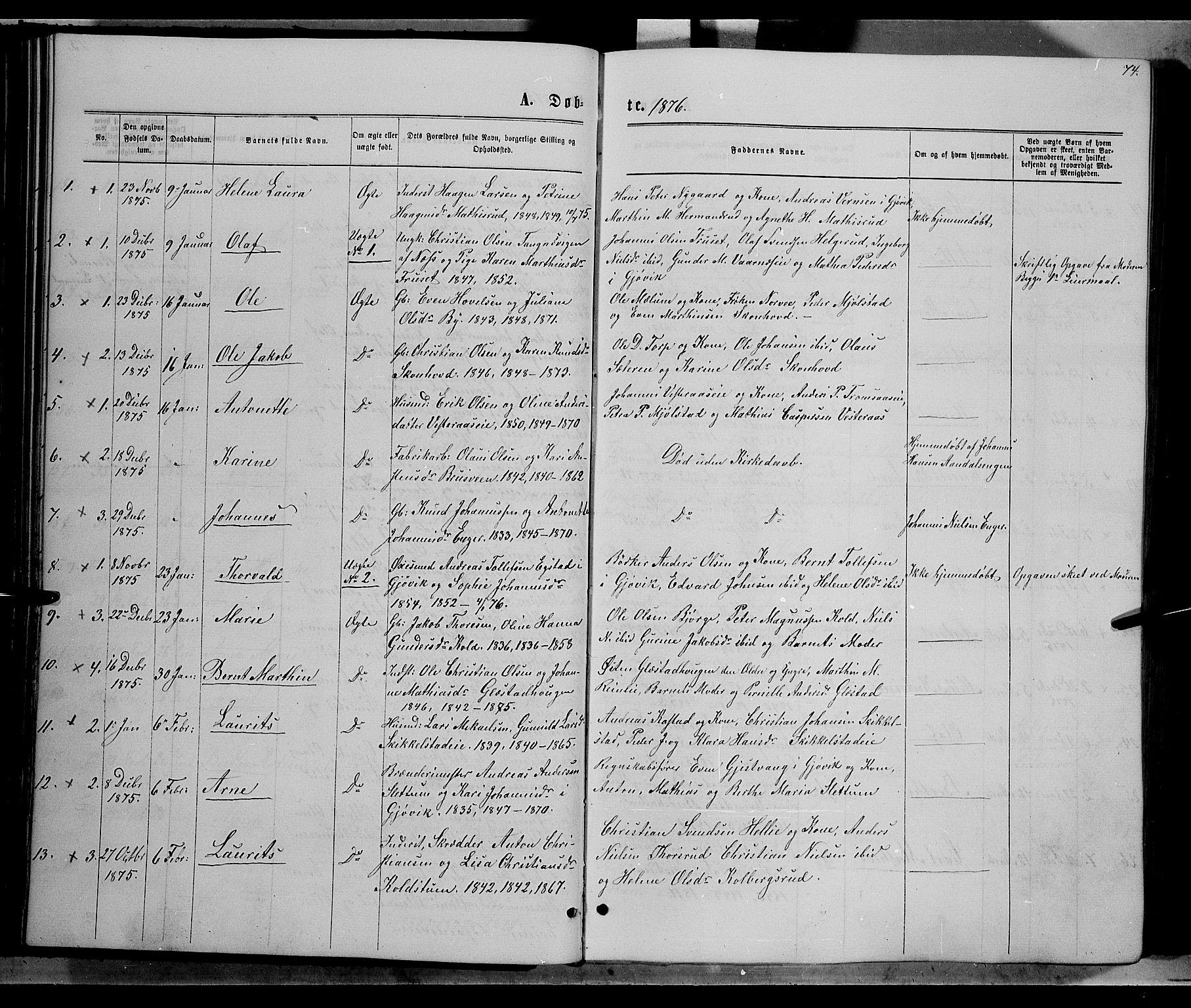 SAH, Vardal prestekontor, H/Ha/Hab/L0006: Klokkerbok nr. 6, 1869-1881, s. 74