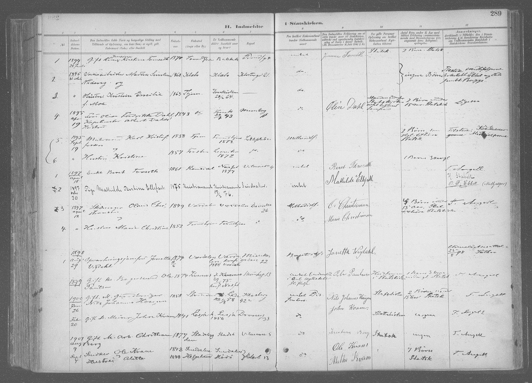 SAT, Ministerialprotokoller, klokkerbøker og fødselsregistre - Sør-Trøndelag, 601/L0064: Ministerialbok nr. 601A31, 1891-1911, s. 289