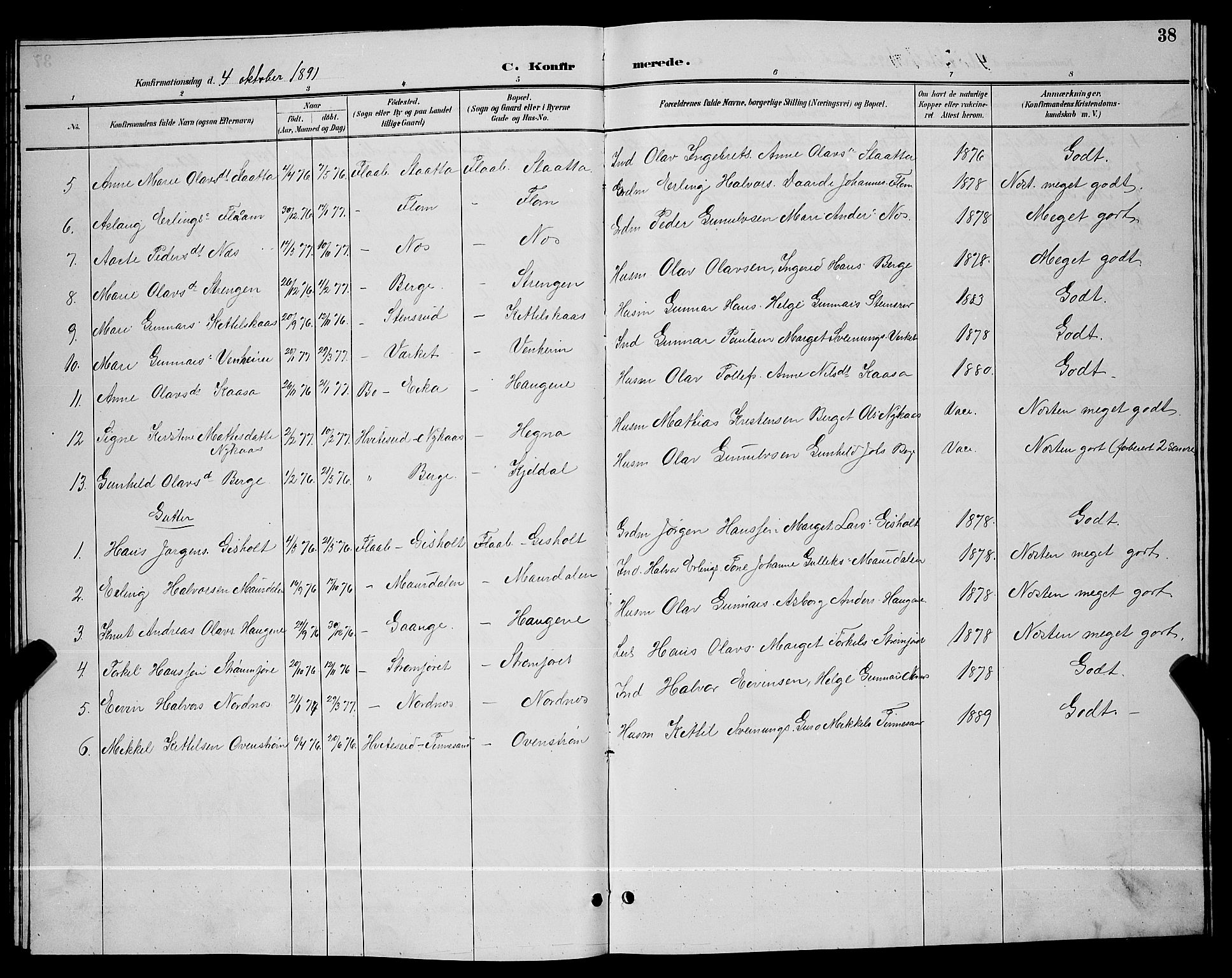 SAKO, Lunde kirkebøker, G/Gb/L0002: Klokkerbok nr. II 2, 1888-1895, s. 38