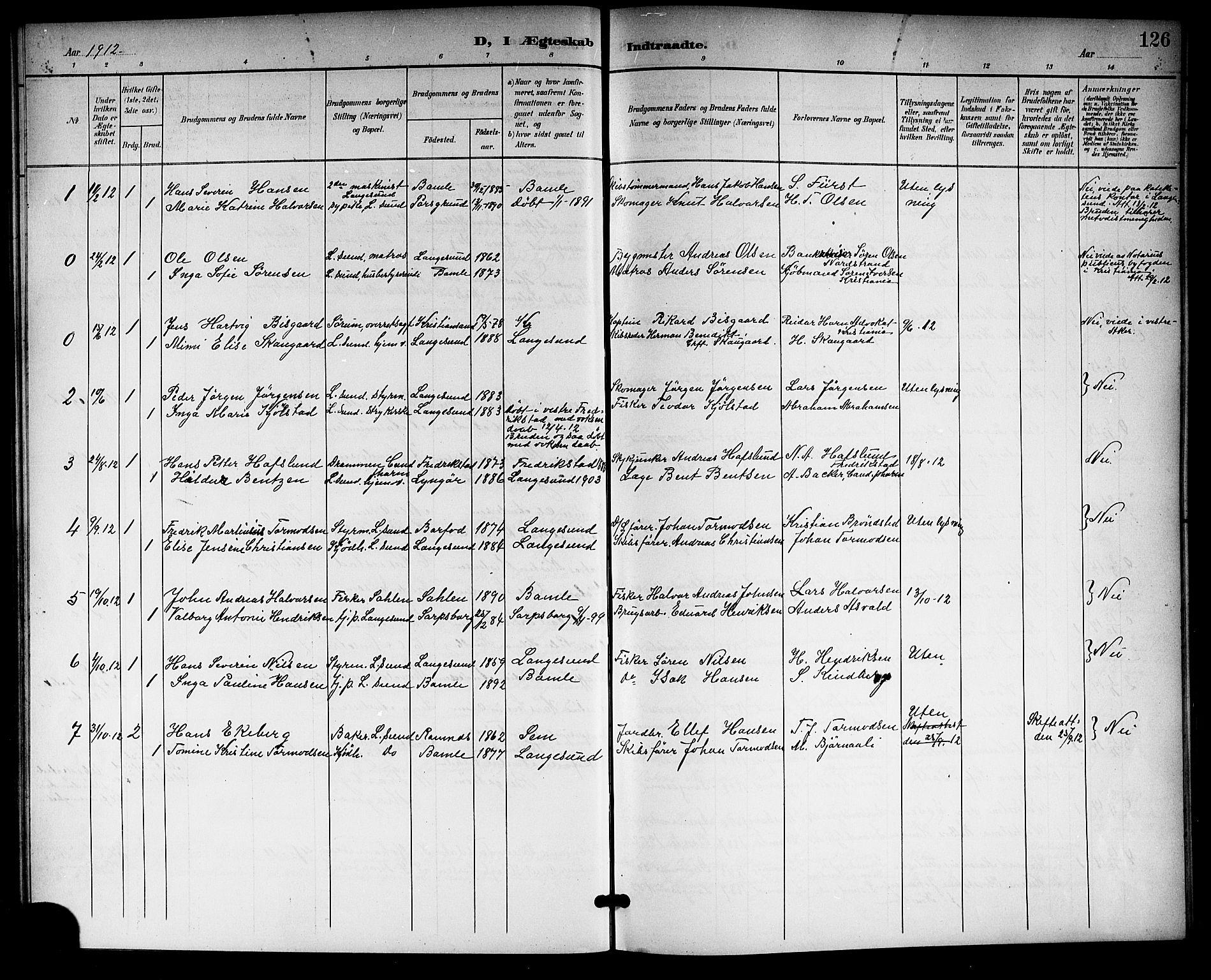 SAKO, Langesund kirkebøker, G/Ga/L0006: Klokkerbok nr. 6, 1899-1918, s. 126