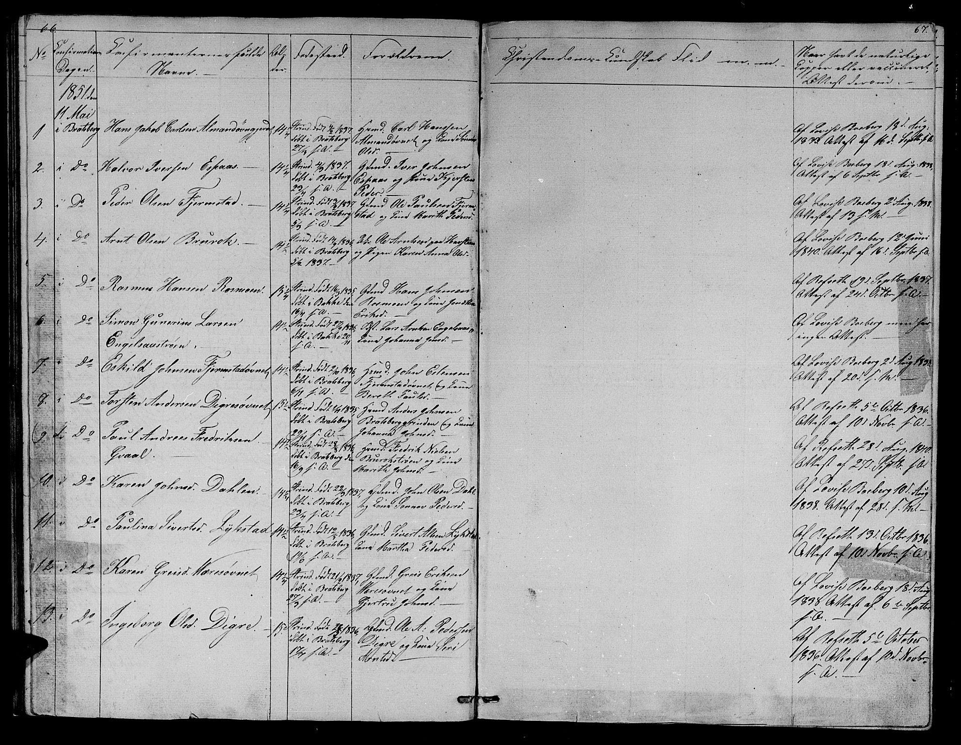 SAT, Ministerialprotokoller, klokkerbøker og fødselsregistre - Sør-Trøndelag, 608/L0339: Klokkerbok nr. 608C05, 1844-1863, s. 66-67