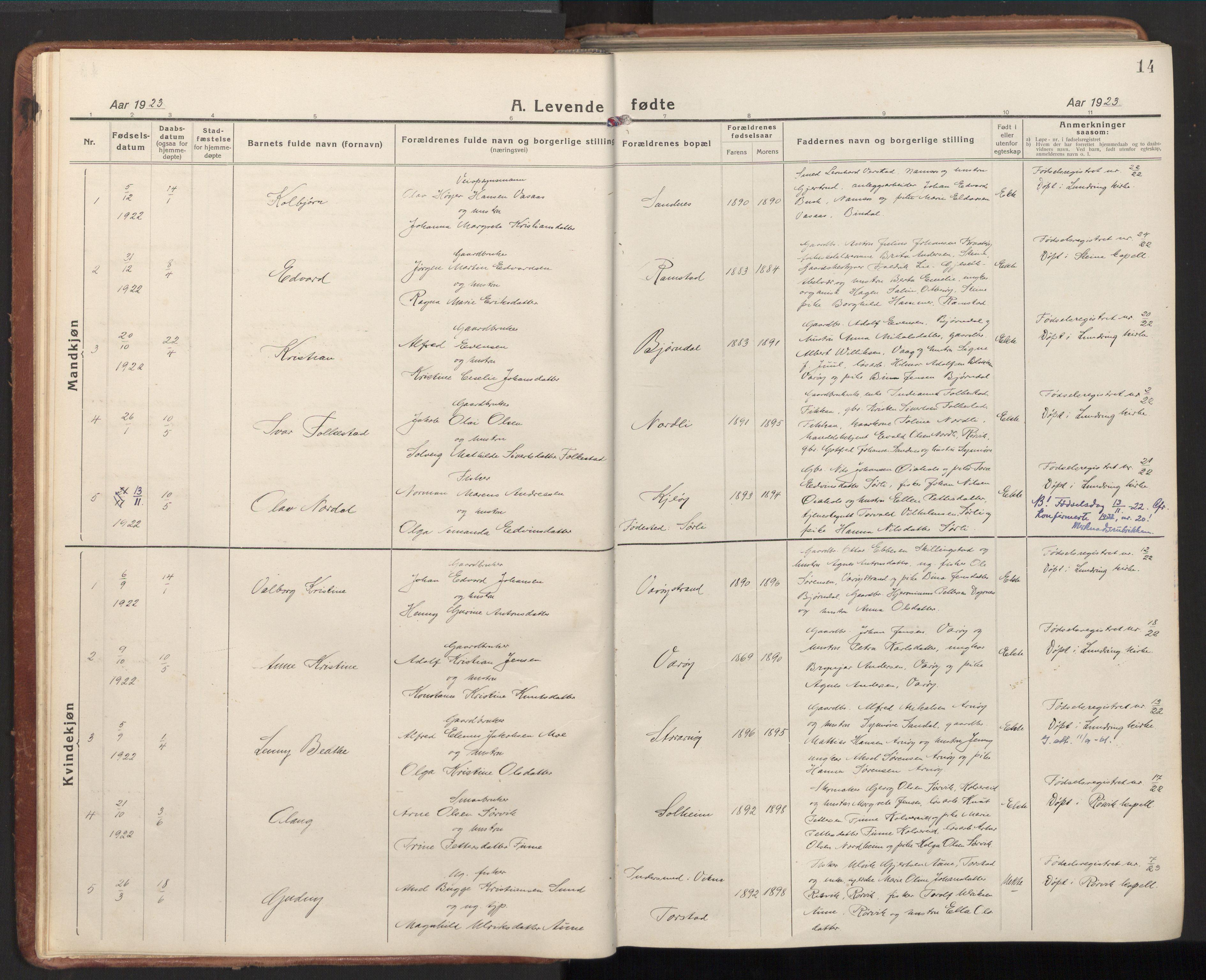SAT, Ministerialprotokoller, klokkerbøker og fødselsregistre - Nord-Trøndelag, 784/L0678: Ministerialbok nr. 784A13, 1921-1938, s. 14
