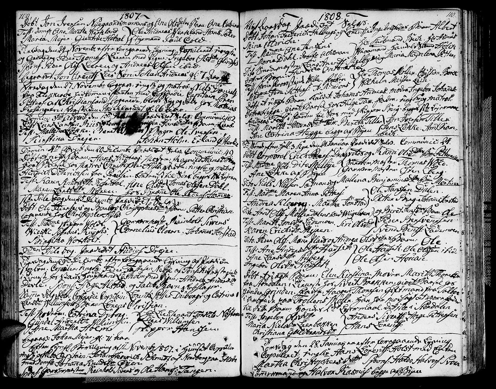 SAT, Ministerialprotokoller, klokkerbøker og fødselsregistre - Sør-Trøndelag, 604/L0181: Ministerialbok nr. 604A02, 1798-1817, s. 109-110