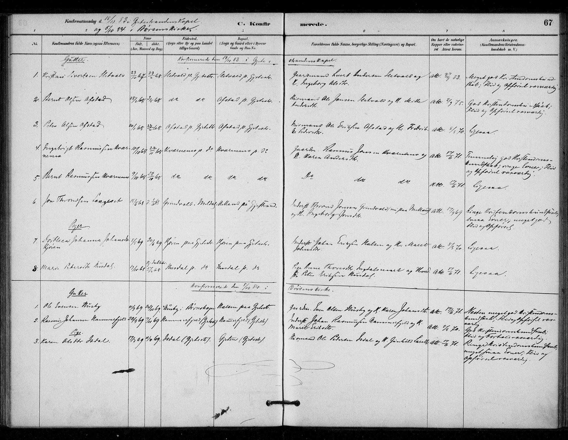 SAT, Ministerialprotokoller, klokkerbøker og fødselsregistre - Sør-Trøndelag, 670/L0836: Ministerialbok nr. 670A01, 1879-1904, s. 67