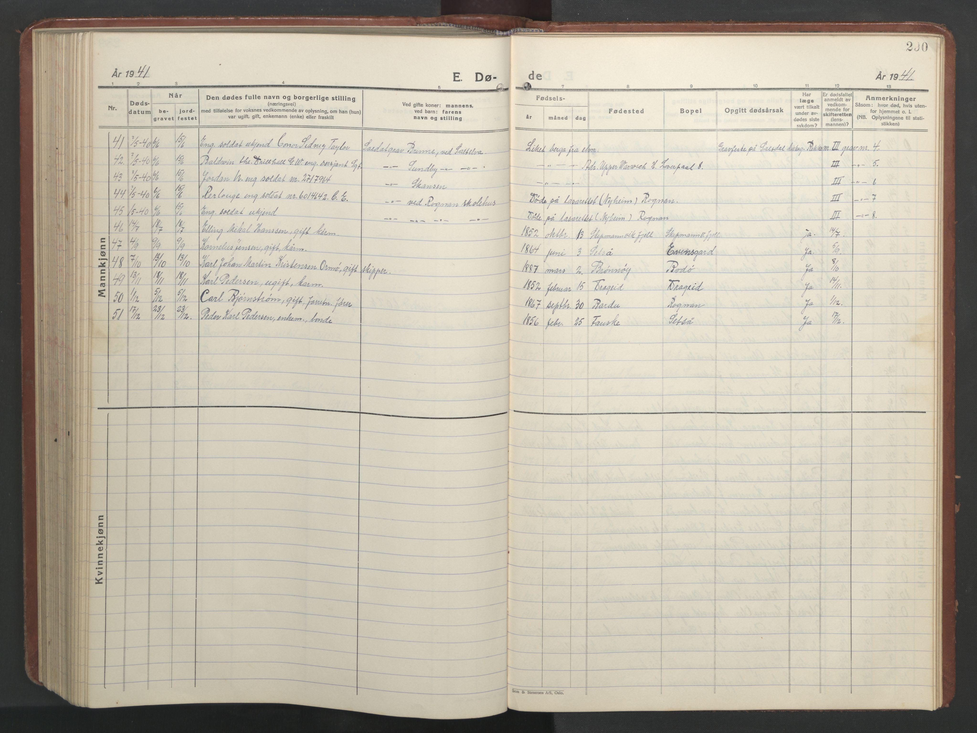 SAT, Ministerialprotokoller, klokkerbøker og fødselsregistre - Nordland, 847/L0680: Klokkerbok nr. 847C08, 1930-1947, s. 290