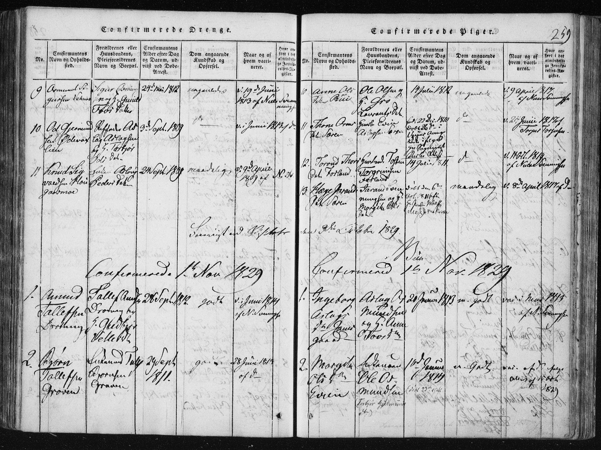 SAKO, Vinje kirkebøker, F/Fa/L0003: Ministerialbok nr. I 3, 1814-1843, s. 259