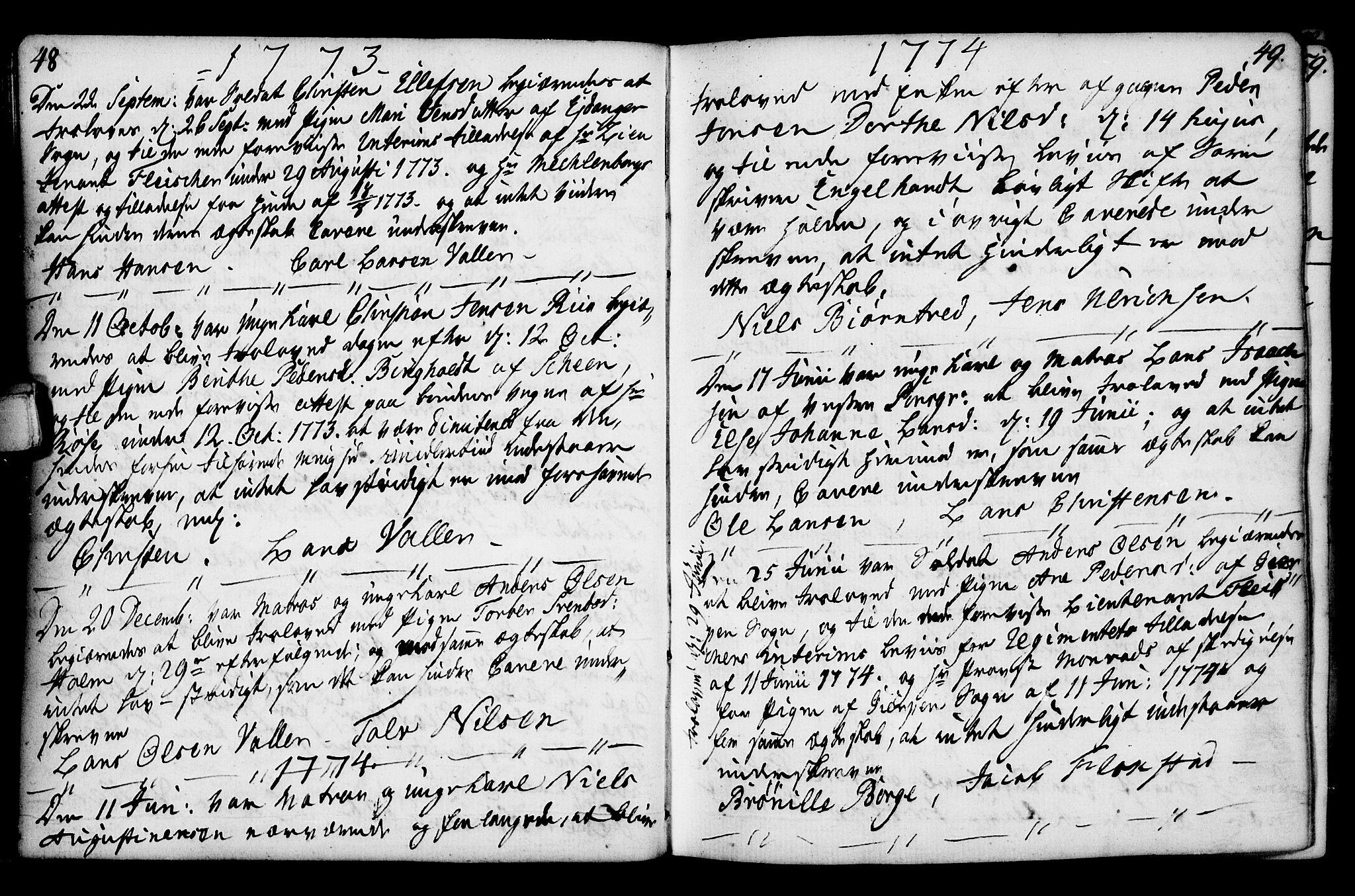 SAKO, Porsgrunn kirkebøker , F/Fa/L0003: Ministerialbok nr. 3, 1764-1814, s. 48-49