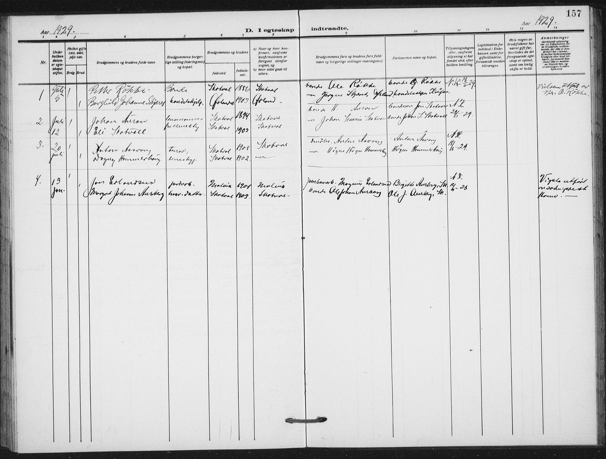 SAT, Ministerialprotokoller, klokkerbøker og fødselsregistre - Nord-Trøndelag, 712/L0102: Ministerialbok nr. 712A03, 1916-1929, s. 157