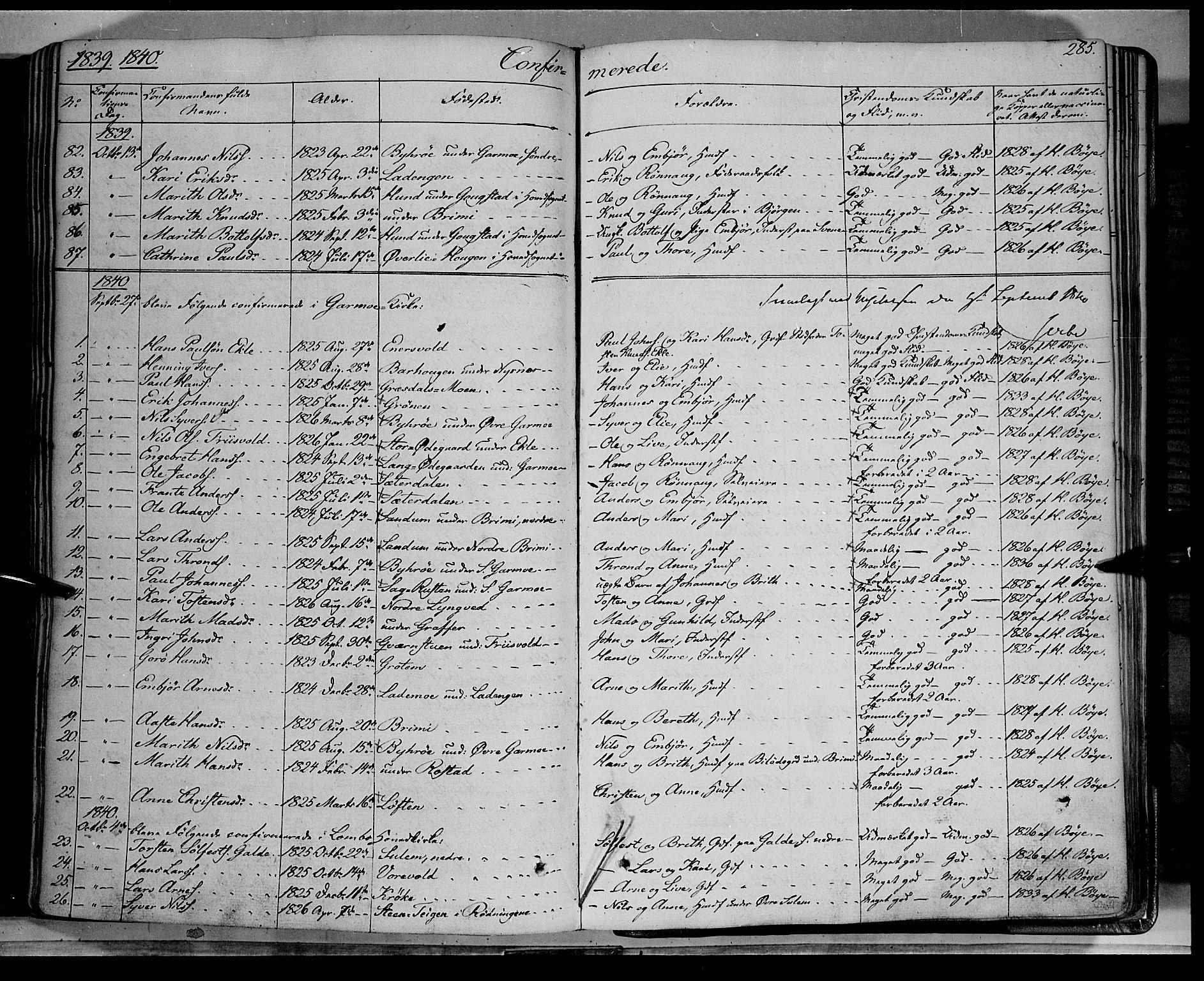 SAH, Lom prestekontor, K/L0006: Ministerialbok nr. 6A, 1837-1863, s. 285