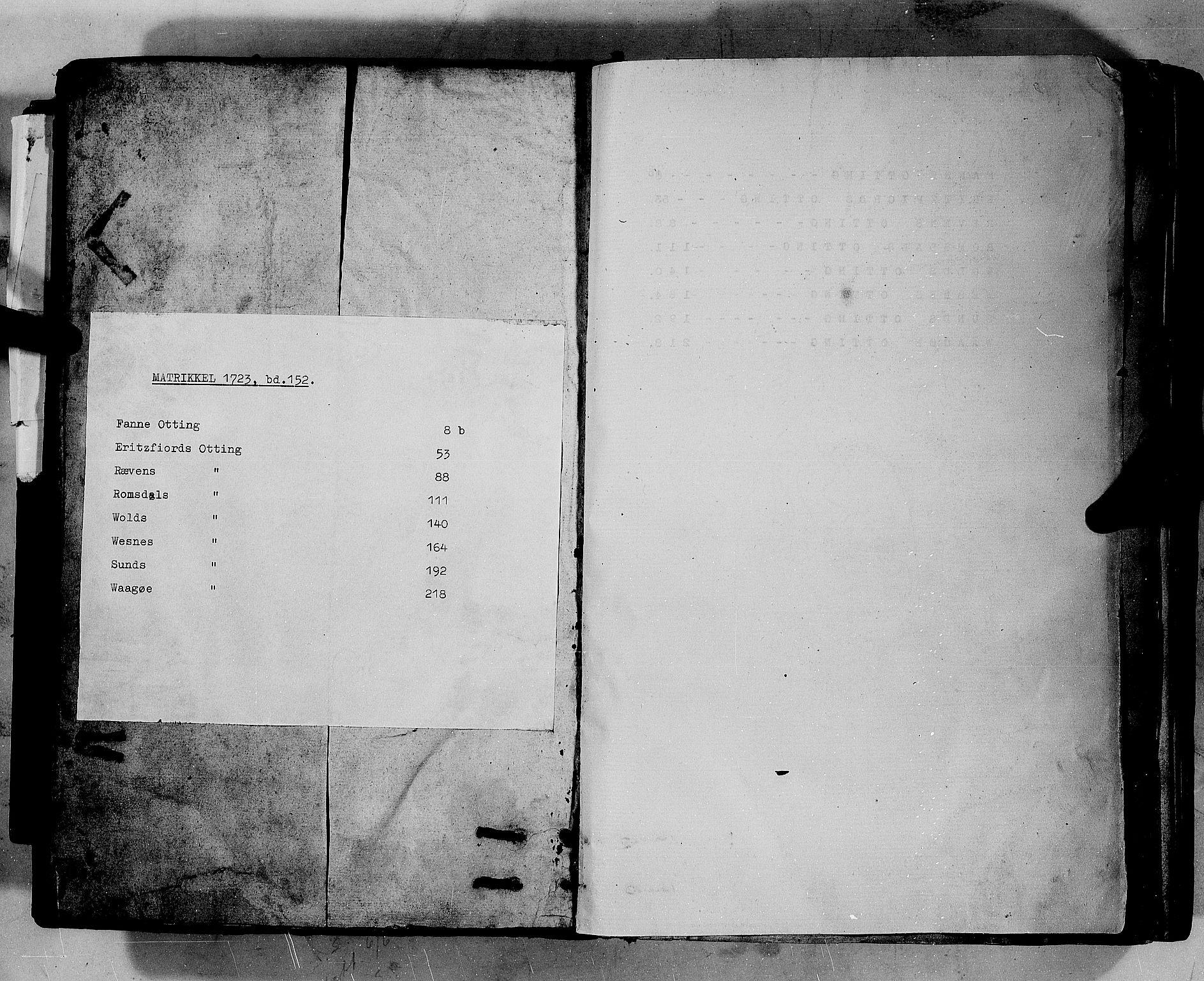 RA, Rentekammeret inntil 1814, Realistisk ordnet avdeling, N/Nb/Nbf/L0152: Romsdal eksaminasjonsprotokoll, 1724, s. upaginert