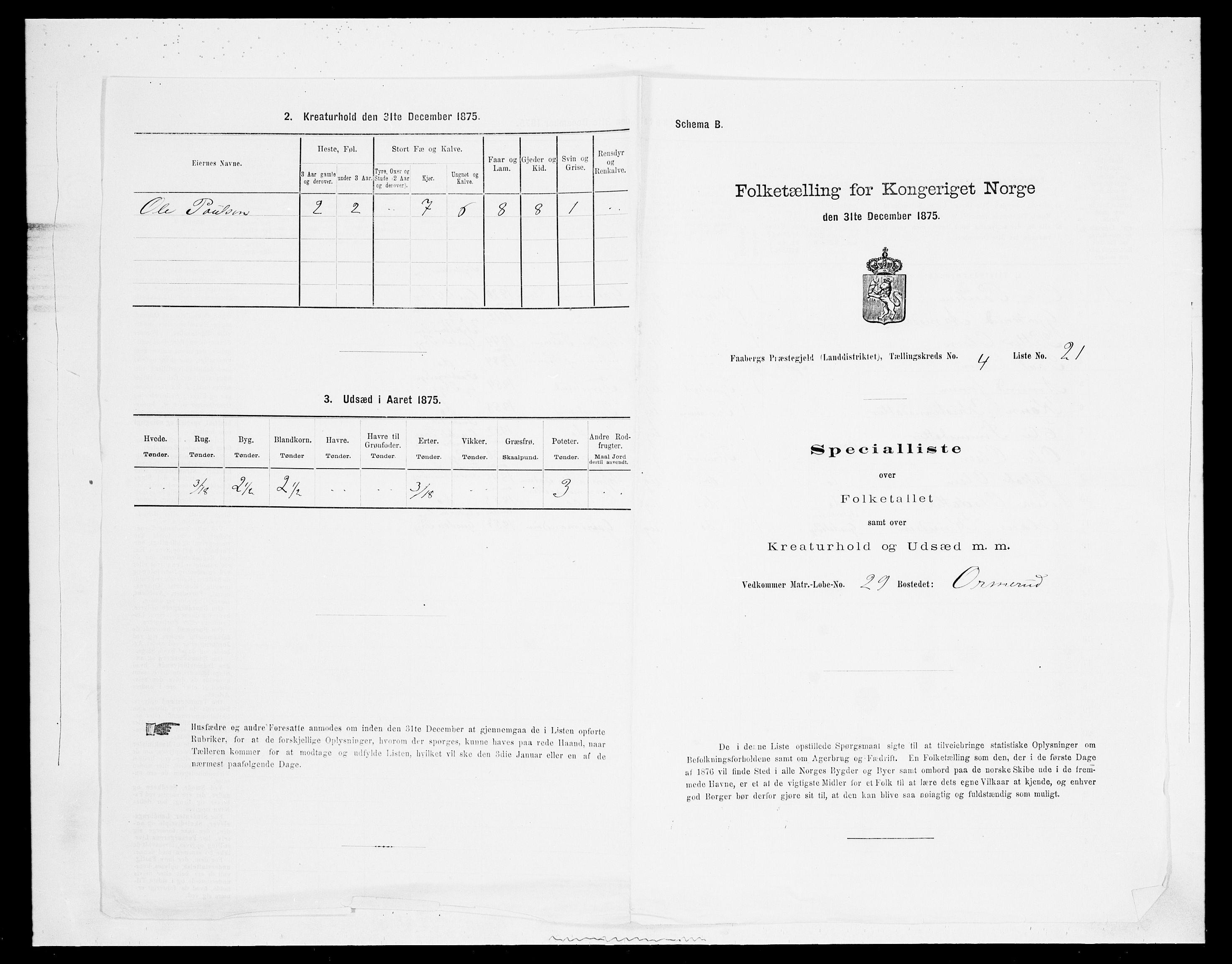 SAH, Folketelling 1875 for 0524L Fåberg prestegjeld, Fåberg sokn og Lillehammer landsokn, 1875, s. 533