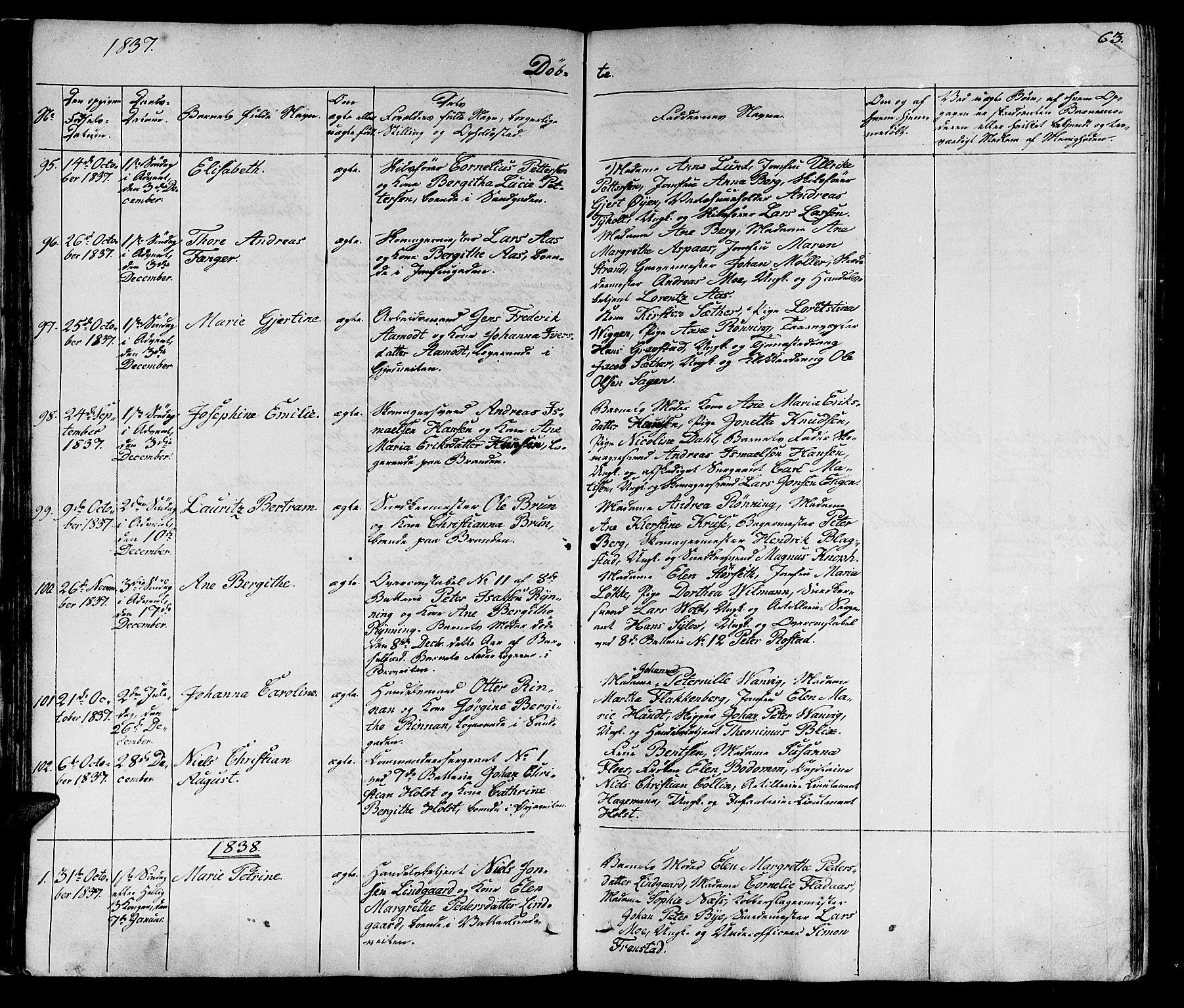 SAT, Ministerialprotokoller, klokkerbøker og fødselsregistre - Sør-Trøndelag, 602/L0136: Klokkerbok nr. 602C04, 1833-1845, s. 63